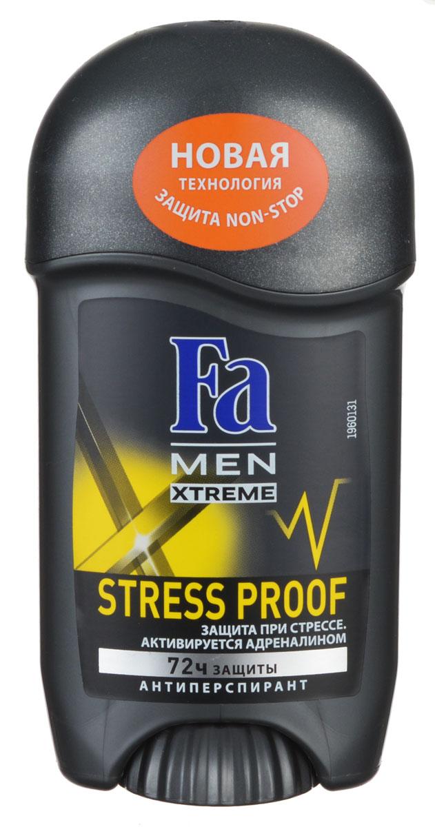 Fa Men Дезодорант-стик Xtreme Activated Stress Proof, мужской, 50 мл12126551Fa Men Xtreme Activated Stress Proof - надежная защита даже в самых стрессовых ситуациях! Благодаря уникальной технологии део-защита начинает работать во время выработки адреналина. 72 часа высокоэффективной защиты против влажности и запаха пота. 0% спирта. Дерматологически протестировано.