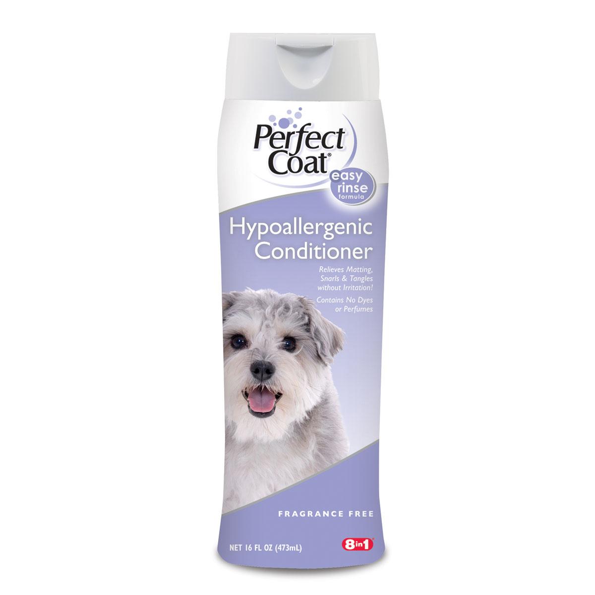 Кондиционер-ополаскиватель для собак 8in1 PC Hypoallergenic гипоаллергенный 473 мл18271848 in1 Hypoallergenic Conditioner гипоаллергенный кондиционер для собак 473 мл. Кондиционер гипоаллергенный для собак не содержит ароматизаторов и включает технологию Aller-Free™, денатурирующую белки, вызывающие аллергию. Кондиционер нейтрализует перхоть и другие раздражающие факторы, не нарушая чувствительности кожи. Обогащен Алое вера для придания шерсти мягкости и блеска. Легкосмываемая формула не содержит избыточных масел.