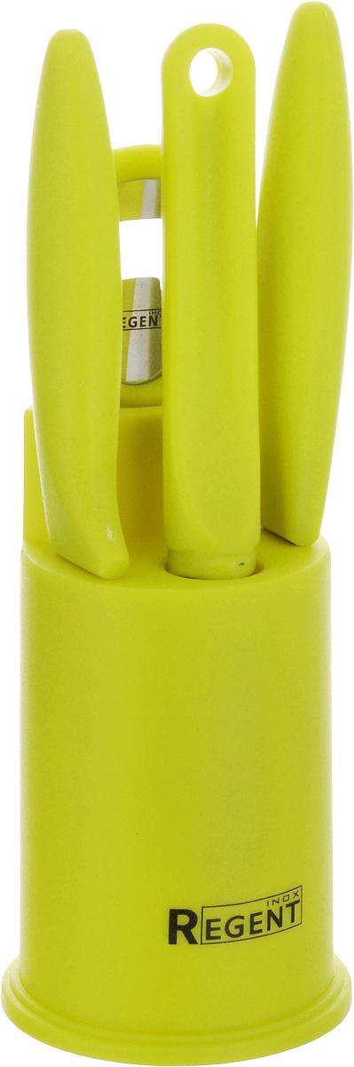 Набор кухонных принадлежностей Regent Inox Presto, 5 предметов93-PP-S5-01Набор кухонных принадлежностей Regent Inox Presto послужит прекрасным дополнением к оборудованию современной или традиционной кухни. Набор состоит из ножа для овощей, универсального ножа, овощечистки, открывалки и подставки, на которой располагаются предметы набора. Рабочие части выполнены из высококачественной стали. Ручки - из пластика. Эксклюзивный дизайн, эстетичность и функциональность набора Regent Inox Presto позволят ему занять достойное место среди кухонного инвентаря. Можно мыть в посудомоечной машине. Длина открывалки: 15,5 см. Размер подставки: 7,5 х 7,5 х 12,5 см. Длина овощечистки: 17,5 см. Длина лезвия овощечистки: 4,5 см. Длина ножа для овощей: 19,5 см. Длина лезвия ножа для овощей: 8,7 см. Длина универсального ножа: 20 см. Длина лезвия универсального ножа: 9,2 см.