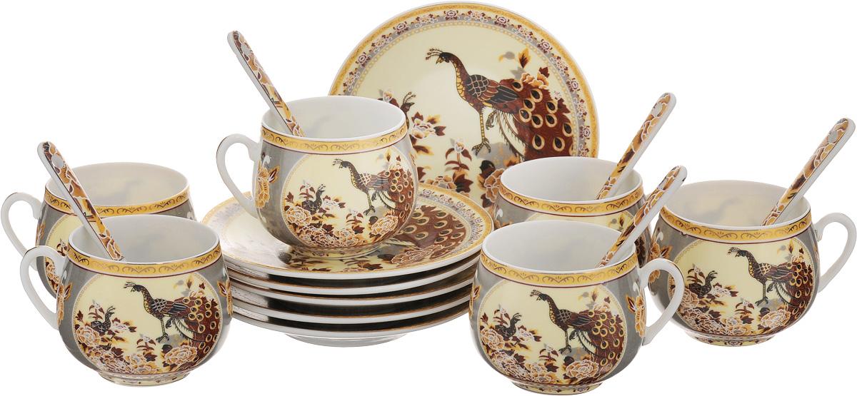 Набор кофейный Elan Gallery Павлин, с ложками, цвет: бежевый, коричневый, 18 предметов730430Кофейный набор Elan Gallery Павлин состоит из 6 чашек, 6 блюдец и 6 ложек. Изделия выполнены из высококачественной керамики, имеют яркий дизайн и классическую круглую форму. Такой набор прекрасно подойдет как для повседневного использования, так и для праздников. Набор Elan Gallery Павлин - это не только изящный и полезный подарок для родных и близких, а также великолепное дизайнерское решение для вашей кухни или столовой. Не использовать в микроволновой печи. Диаметр чашки (по верхнему краю): 5,5 см. Высота чашки: 5,5 см. Диаметр блюдца (по верхнему краю): 11,5 см. Высота блюдца: 1,8 см. Объем чашки: 130 мл. Длина ложки: 10 см.