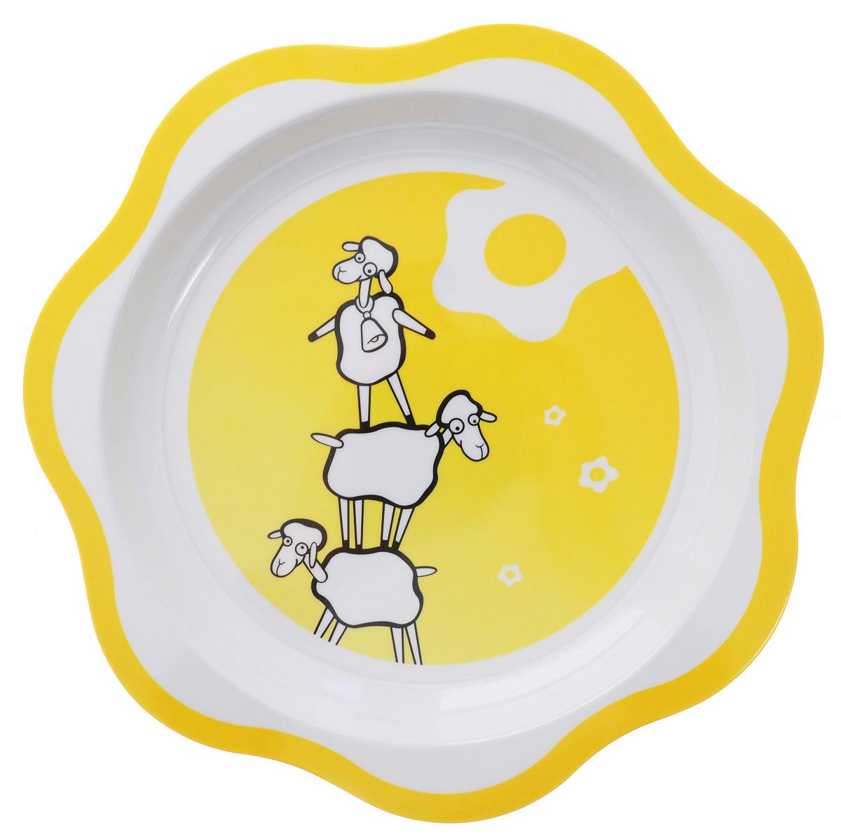Tescoma Тарелка детская Овечка668027Детская тарелка Tescoma Овечка изготовлена из безопасного пластика. Тарелочка, оформленная веселыми картинками забавных овечек, понравится и малышу, и родителям! Ребенок будет с удовольствием учиться кушать самостоятельно. Тарелочка подходит для горячей и холодной пищи. Можно использовать в посудомоечной машине. Нельзя использовать в микроволновой печи.