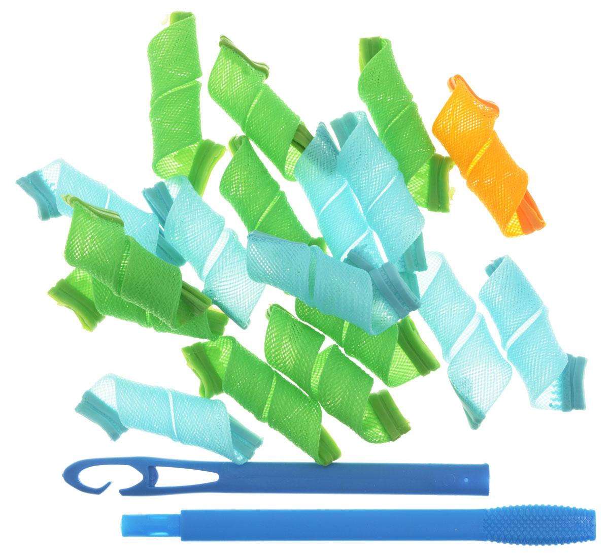 Magic Leverag Бигуди маленькие, 18 х 15 см, цвет: зеленый, голубой, оранжевыйМ15_зеленый,голубой,оранжевый