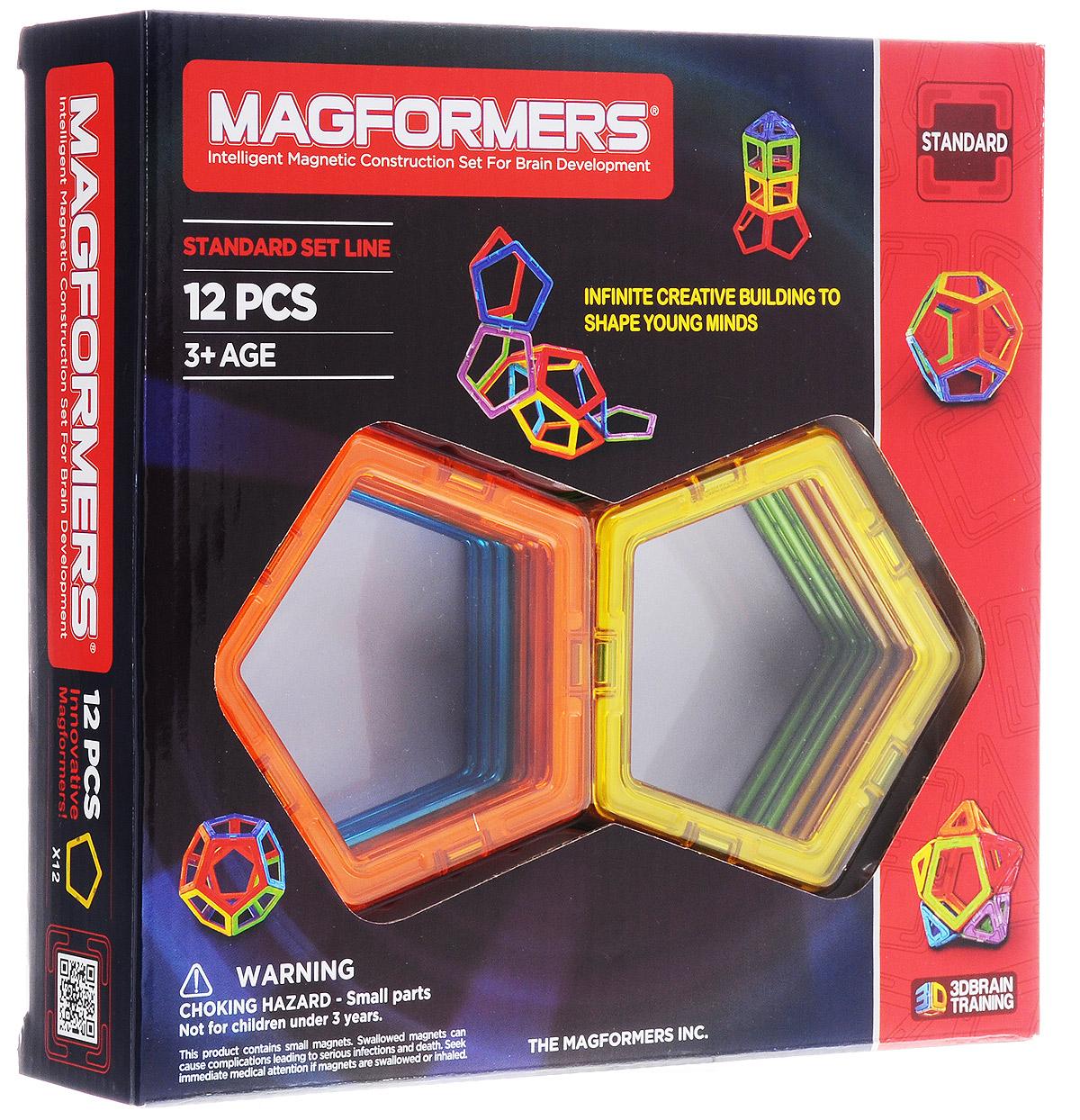 Magformers Магнитный конструктор Standard63071Магнитный конструктор Magformers Standard позволит построить различные 2D и 3D модели из цветных геометрических фигур. Этот набор состоит из пятиугольников, с помощью которых можно делать сложные шары. Он может стать прекрасным дополнением ко всем конструкторам Magformers. Почувствуйте силу магнитного поля, исследуйте и экспериментируйте с многочисленными вариантами соединений деталей! Игры с конструктором развивает у ребенка мелкую моторику, цветовое восприятие и пространственное мышление. Такой конструктор станет прекрасным подарком любому ребенку. В комплекте 12 элементов.