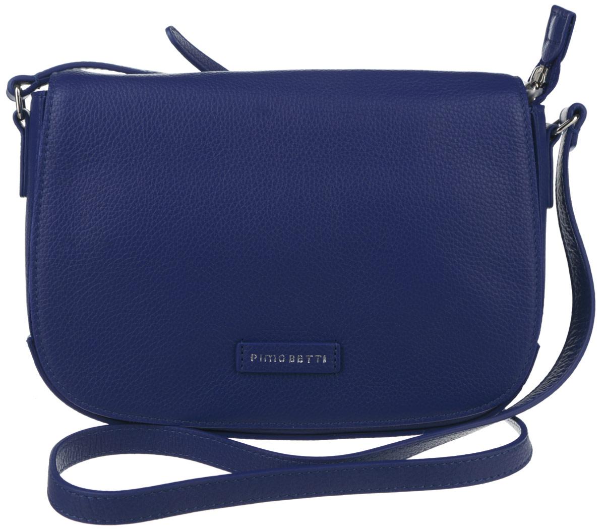 Сумка женская Pimo Betti, цвет: синий. 13833B-W113833B-W1Стильная женская сумка Pimo Betti выполнена из натуральной кожи с зернистой фактурой, оформлена символикой бренда. Изделие содержит одно вместительное отделение, закрывающееся на застежку-молнию и дополнительно клапаном с магнитной кнопкой. Внутри сумки расположены два накладных кармашка для мелочей и врезной карман на застежке-молнии. Снаружи, на задней стороне сумки, расположен врезной кармашек на застежке-молнии. Изделие оснащено практичным плечевым ремнем регулируемой длины. Оригинальный аксессуар позволит вам завершить образ и быть неотразимой.