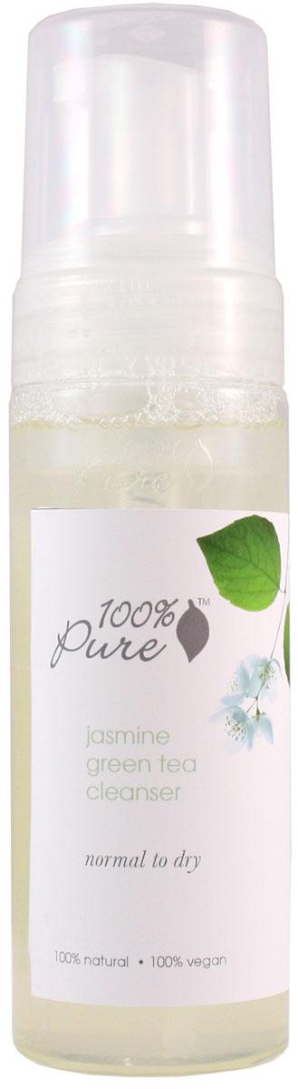 100% Pure Коллекция жасмин и зеленый чай: пенка для умывания 177 мл1FCJGTНежная, увлажняющая пенка для умывания смывает макияж (в том числе макияж глаз) и все другие загрязнения кожи. Пенка содержит антиоксиданты органического зеленого чая, органический сок алоэ, целебные травы, эфирное масло жасмина и другие питательные вещества. Пенка не только очищает кожу, но и питает и увлажняет ее. Эта коллекция разработана специально для ухода за нормальной и сухой кожей, но при этом обладает достаточно мягким действием на другие типы кожи.