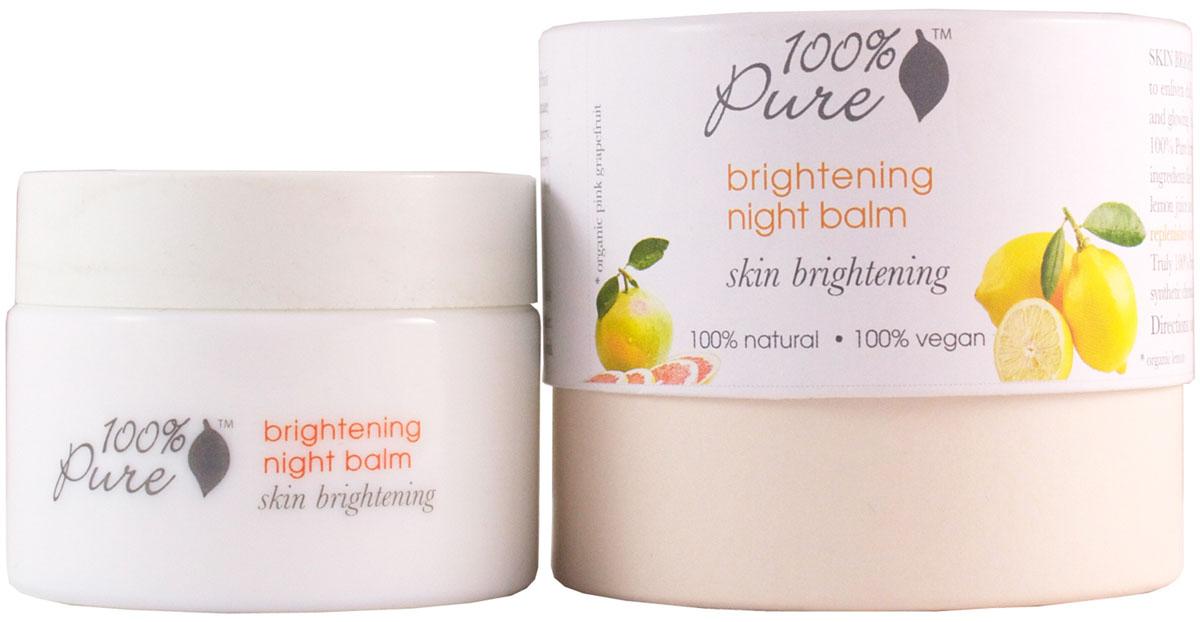 100% Pure Коллекция сияние: бальзам для лица ночной 34 г1FMSBNBСупер питательный бальзам восстанавливает кожу изнутри во время сна. Коллекция «Сияние» создана специально, чтобы оживить кожу, теряющую молодость и свежесть, сделать ее более живой, здоровой и излучающей сияние изнутри. Вместо химических отбеливателей и осветлителей, формула 100% Pure строится на мягких, нежных, природных ингредиентах: толокнянка, койевая кислота, саке, фруктовые кислоты, экстракт солодки, витамин С, сок лимона и клубники. Эта коллекция подходит для всех типов кожи.