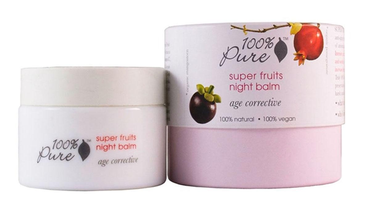 100% Pure Коллекция супер фрукты: бальзам для лица ночной 34 г1FMSFNBНочной бальзам для лица содержит большое количество витаминов, антиоксидантов и полезных питательных веществ. Предотвращает появление морщин, способствует повышению упругости кожи, делает кожу более здоровой и сияющей. Коллекция Супер Фрукты - это квинтэссенция молодости, созданная из фруктов, обладающих самым мощным омолаживающим потенциалом и имеющих самое высокое значение ORAC! ORAC (Oxygen Radical Absorbance Capacity) - спектральная способность поглощения радикального кислорода, - это метод измерения антиоксидантного потенциала в биологических образцах. Разработано специально для коррекции уже имеющихся признаков старения