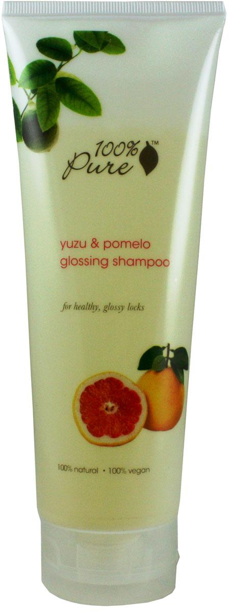 100% Pure Шампунь для блеска волос Юзу и Помело, 236 мл1HCSYPG8ozЮзу и Помело - шампунь, который придаст блеск и сияние волосам. Увлажняющие, супер мягкие шампуни нежно очищают кожу головы и придают волосам блеск, упругость и силу! Укрепляют волосы, делают их более сильными и здоровыми! Не содержат синтетических химических веществ, искусственных красителей, химических консервантов, сульфатов.