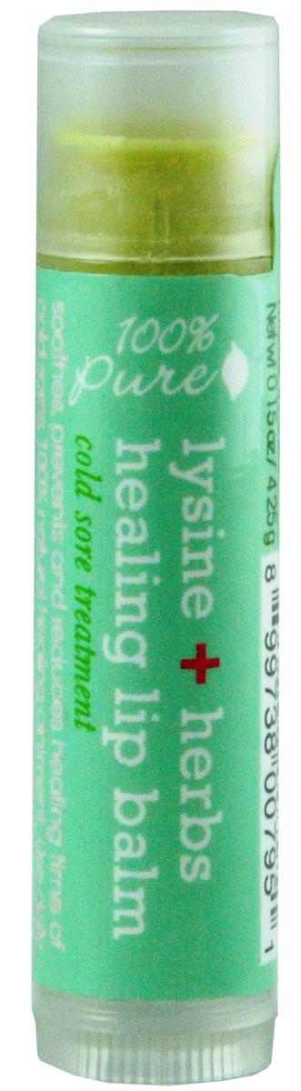 100% Pure Бальзам для губ Лизин+Лечебные травы 4,25 г1LBLHHОрганический бальзам для губ смягчает, питает и глубоко увлажняет нежную кожу губ.