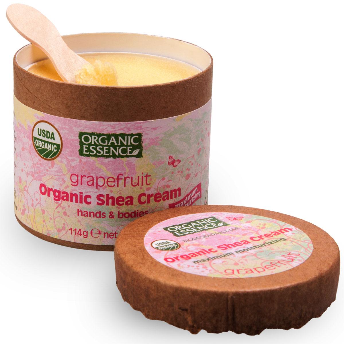Organic Essence Органический крем Ши (Карите), грейпфрут 114 г/118 млCCGRPUSDA Organic сертифицированный продукт. Интенсивное увлажнение. Подходит для ежедневного применения. В состав Органического крема Ши входит органический грейпфрут. Он должен быть в вашем списке лучшие друзья для кожи. Всем известно, что грейпфрут, как антиоксидант, борется со старением кожи, а также выводит токсины. Как и большинство цитрусовых ароматов, аромат грейпфрута вызывает чувство эйфории, он полезен для придания бодрящего тонуса. Аромат грейпфрута способен придать человеку уверенности в себе, помогает справиться с депрессией и подавленным настроением. Грейпфрут повышает иммунитет, поможет Вам избавиться от усталости, несвоевременной сонливости, вялости и головокружения.
