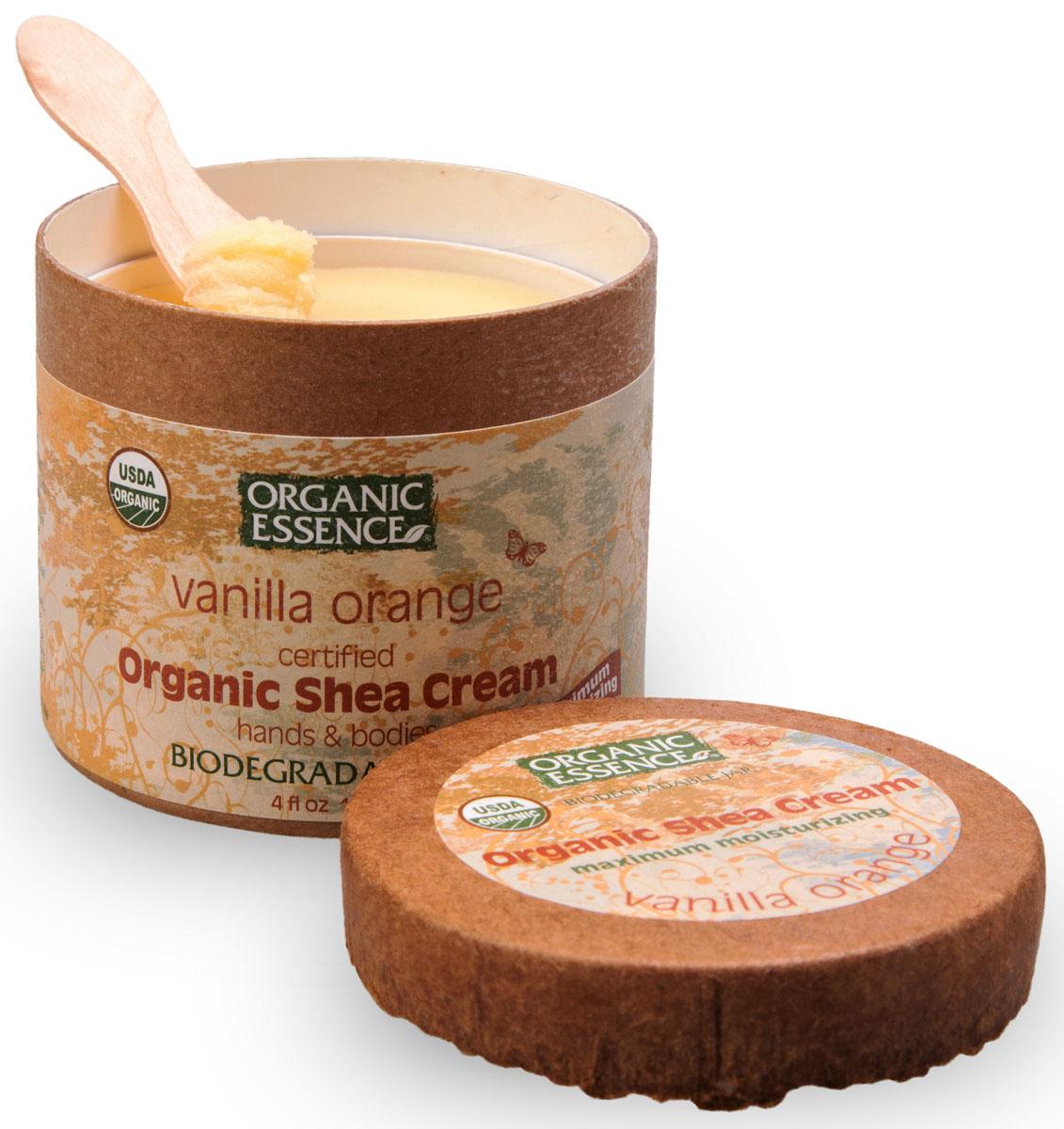 Organic Essence Органический крем Ши (Карите), Ваниль и апельсин 114 г/118 млCCVANUSDA Organic сертифицированный продукт. Интенсивное увлажнение. Подходит для ежедневного применения. В состав Органического крема Ши входит ваниль, обладающая всем знакомым приятным ароматом. Органическая ваниль в первую очередь предназначена для борьбы со стрессом, напряжением и раздражительностью. Аромат ванили не только расслабляет тело, но и снимает нервное напряжение. Апельсиновое масло относится к эфирным маслам с психологически согревающим воздействием. Мягкий аромат апельсинового масла принадлежит к тонизирующим запахам, помогающим улучшить настроение, снять усталость. Обогащенный маслом апельсина органический крем Ши способствует восстановлению упругости и уменьшению морщин, используется в качестве витаминизирующего и защитного средства по уходу за кожей. Отлично подойдет масло в составе крема и для проблемной кожи: оно поможет справиться с расширенными порами и постугревыми шрамами. Масло апельсина также улучшают кровообращение и оказывает противовоспалительный эффект.