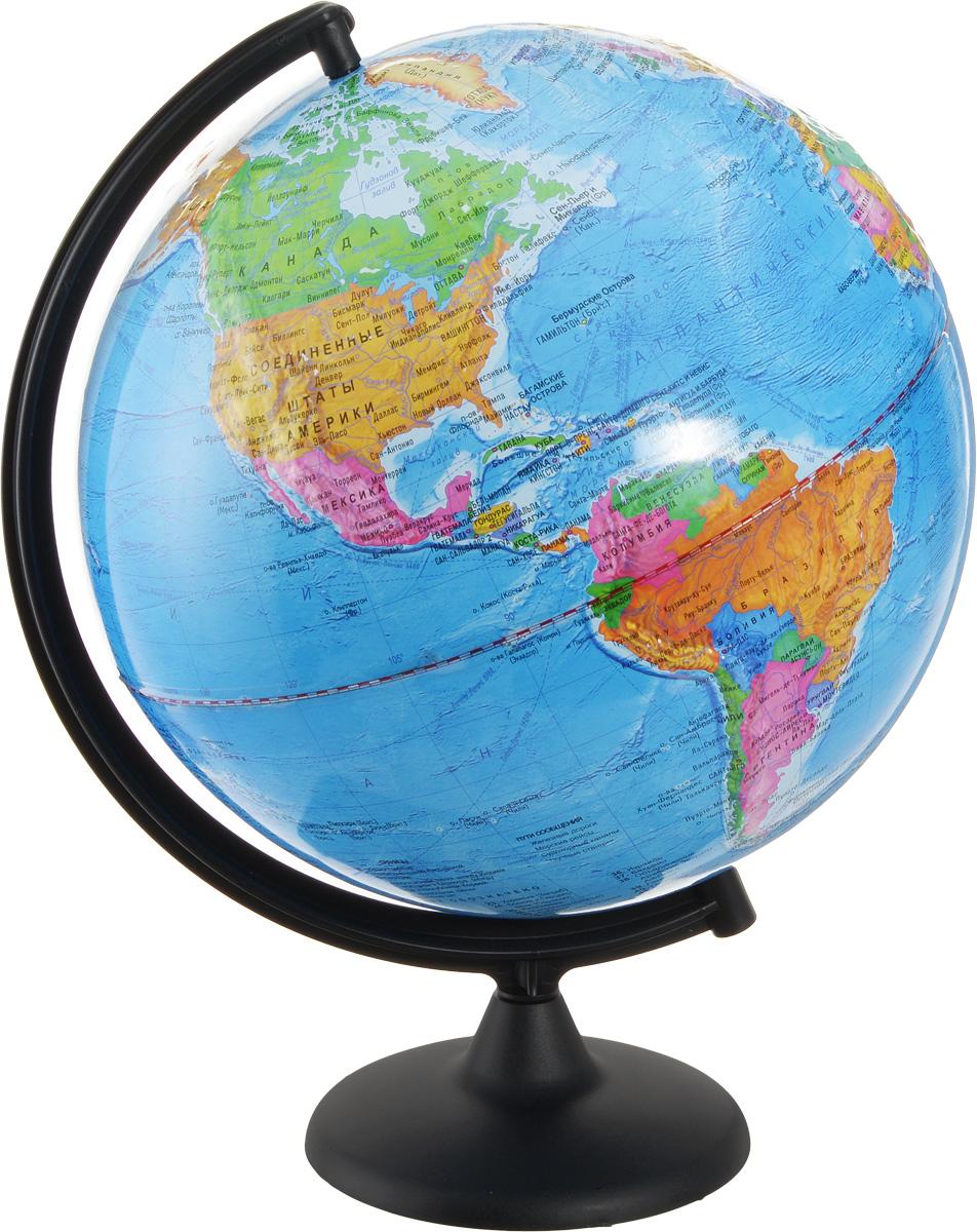 Глобусный мир Глобус с политический картой мира рельефный диаметр 32 см10197Глобус Глобусный мир с политической картой мира, изготовленный из высококачественного прочного пластика, показывает страны мира, границы того или иного государства, расположение столиц государств, городов и населенных пунктов. Изделие расположено на черной пластиковой подставке. На глобусе отображены картографические линии: параллели и меридианы, а также градусы и условные обозначения. Все страны мира раскрашены в разные цвета. Модель имеет рельефную выпуклую поверхность, что, в свою очередь, делает глобус особенно интересным для детей младшего школьного возраста. Названия стран на глобусе приведены на русском языке. Глобус с политической картой мира станет незаменимым атрибутом обучения не только школьника, но и студента. Настольный глобус Глобусный мир станет оригинальным украшением рабочего стола или вашего кабинета. Это изысканная вещь для стильного интерьера, которая станет прекрасным подарком для современного преуспевающего человека, следующего последним тенденциям...