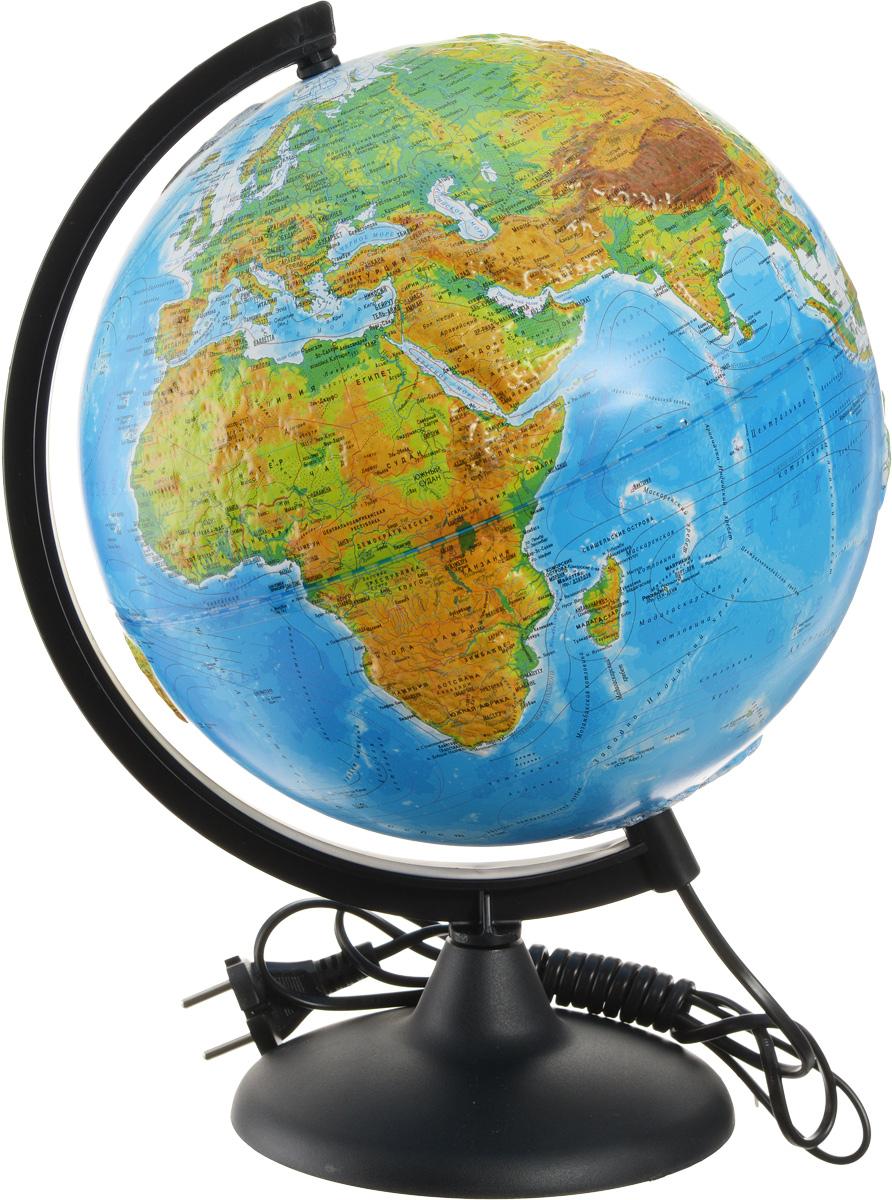 Глобусный мир Глобус с физической/политической картой мира рельефный диаметр 25 см с подсветкой10182Рельефный глобус с физической и политической картой мира Глобусный мир станет незаменимым атрибутом обучения не только школьника, но и студента. На глобусе имеются направления и названия подводных течений и ветров, а также столицы государств, государственные границы и другие населенные пункты. С помощью данного глобуса можно получить правильное представление о форме, размерах, расположении материков, океанов, островов, морей и рек. Модель имеет рельефную выпуклую поверхность, что, в свою очередь, делает глобус особенно интересным для детей младшего школьного возраста. Названия стран на глобусе приведены на русском языке. Помимо этого глобус обладает приятной цветовой гаммой. Изделие расположено на пластиковой подставке и имеет подсветку. Настольный глобус Глобусный мир станет оригинальным украшением рабочего стола или вашего кабинета. Это изысканная вещь для стильного интерьера, которая станет прекрасным подарком для современного преуспевающего человека, следующего последним...