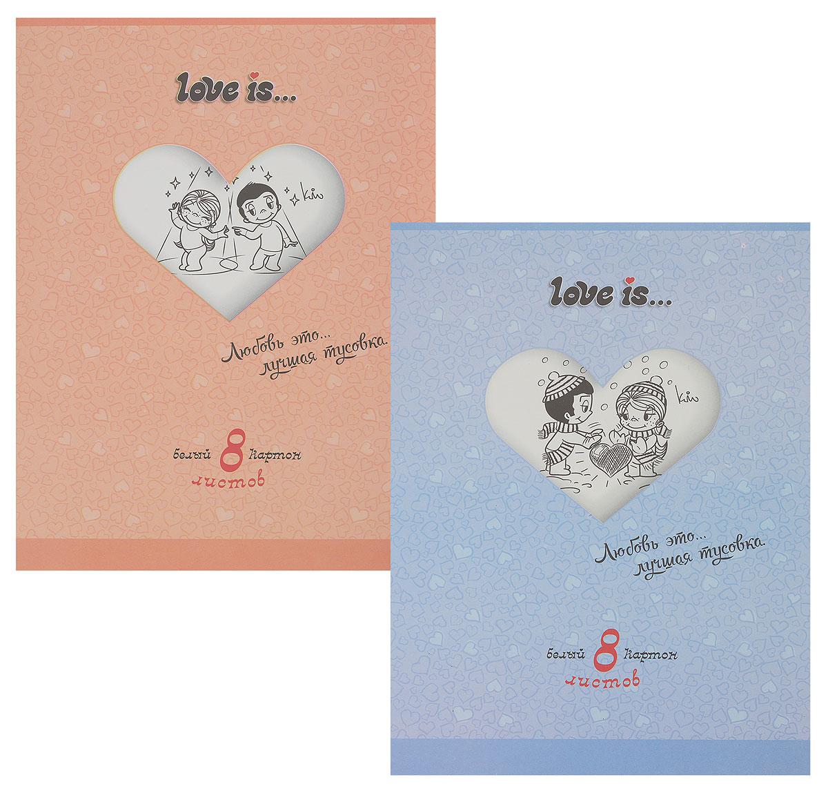 Action! Набор белого картона Love is 8 листов 2 шт цвет папки голубой оранжевый
