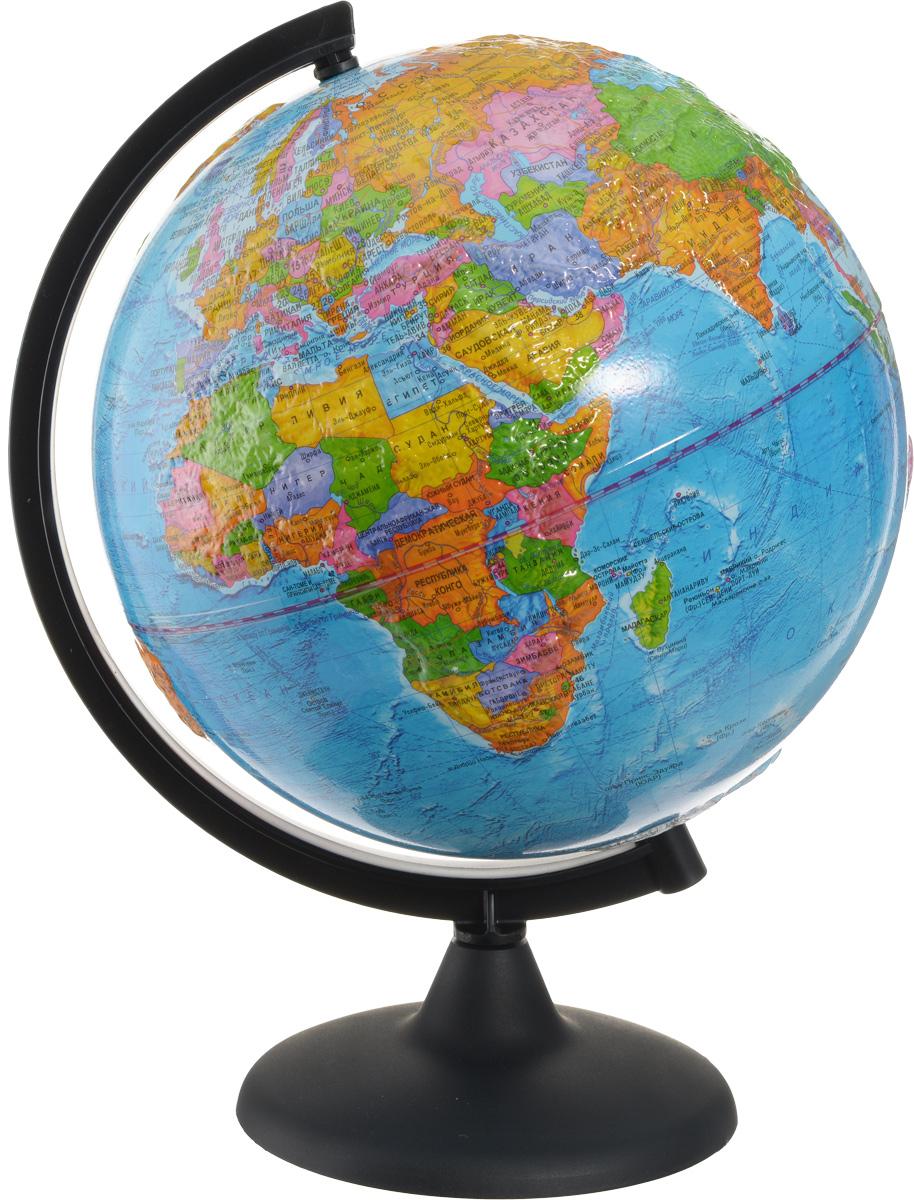 Глобусный мир Глобус с политической картой мира рельефный диаметр 25 см10177Глобус с политической картой мира Глобусный мир, изготовленный из высококачественного прочного пластика, показывает страны мира, сухопутные и морские границы того или иного государства, расположение городов и населенных пунктов. Изделие расположено на подставке. На глобусе отображены картографические линии: параллели и меридианы, а также градусы и условные обозначения. Модель имеет рельефную выпуклую поверхность, что, в свою очередь, делает глобус особенно интересным для детей младшего школьного и дошкольного возрастов. Все страны мира раскрашены в разные цвета. Глобус с политической картой мира станет незаменимым атрибутом обучения не только школьника, но и студента. Названия стран на глобусе приведены на русском языке. Настольный глобус Глобусный мир станет оригинальным украшением рабочего стола или вашего кабинета. Это изысканная вещь для стильного интерьера, которая станет прекрасным подарком для современного преуспевающего человека, следующего...