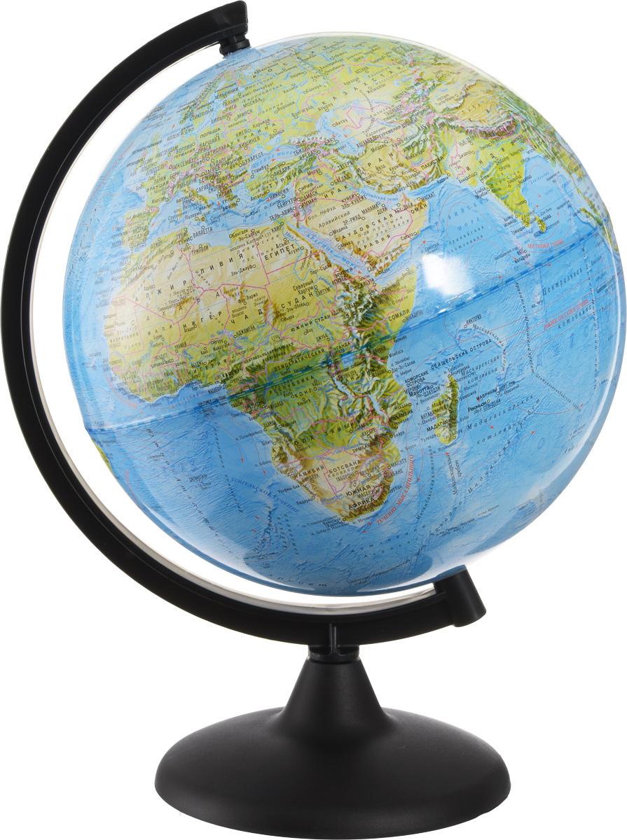 Глобусный мир Глобус ландшафтный диаметр 25 см10231Ландшафтный глобус Глобусный мир, изготовленный из высококачественного прочного пластика. Данная модель предназначена для ознакомления с особенностями ландшафта нашей планеты. Помимо этого ландшафтный глобус обладает приятной цветовой гаммой. Глобус дает представление о местоположении материков и океанов, а также можно увидеть крупнейшие населенные пункты, столицы государств, границы полярных владений Российской Федерации. Названия стран на глобусе приведены на русском языке. Настольный ландшафтный глобус Глобусный мир станет оригинальным украшением рабочего стола или вашего кабинета. Это изысканная вещь для стильного интерьера, которая станет прекрасным подарком для современного преуспевающего человека, следующего последним тенденциям моды и стремящегося к элегантности и комфорту в каждой детали. Масштаб: 1:60 000 000.