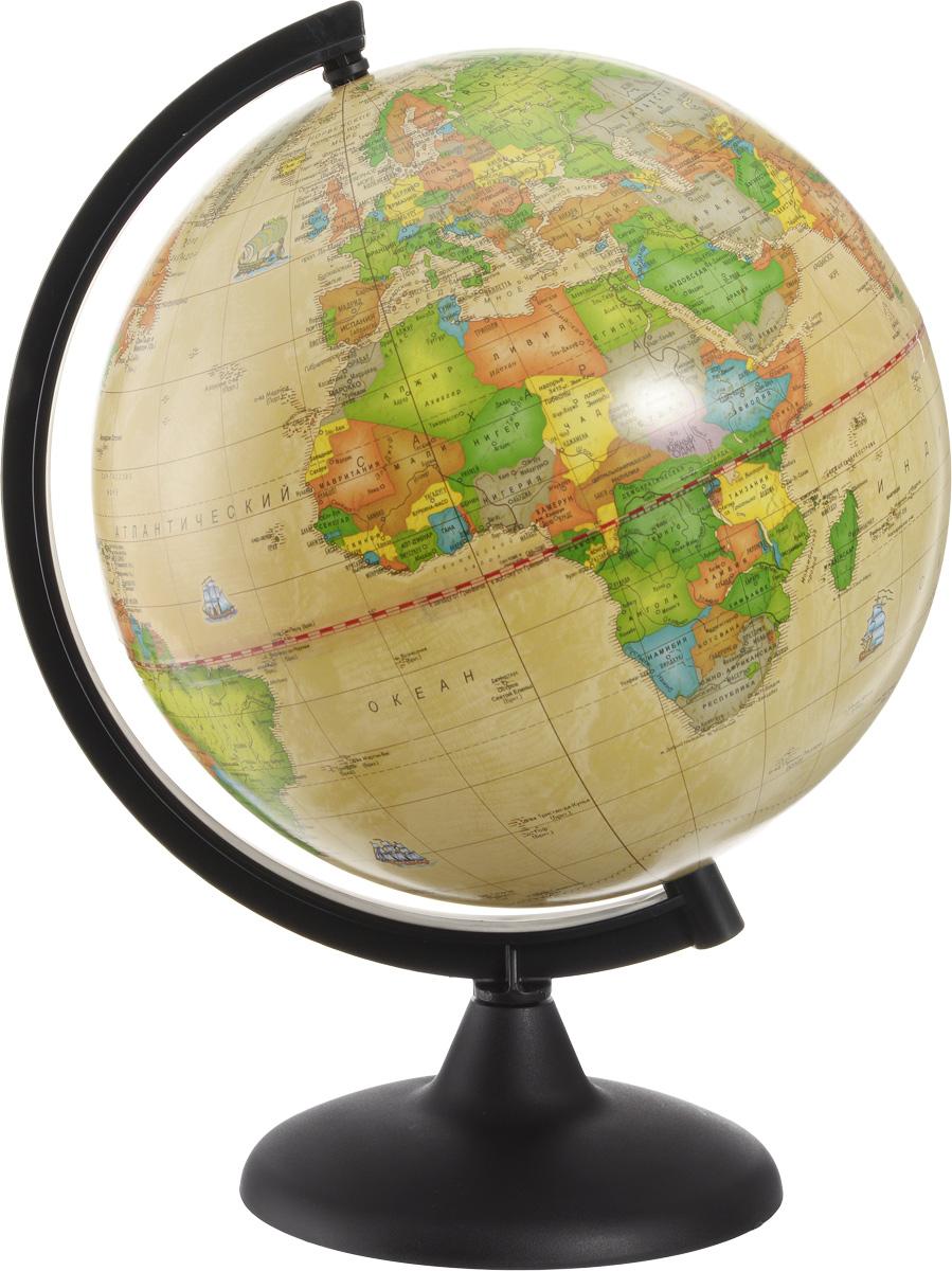 Глобусный мир Глобус с политической картой мира Ретро-Александр диаметр 25 см10162Глобус с политической картой мира Глобусный мир изготовлен из высококачественного прочного пластика. Данная модель выполнена в ретро стиле и показывает страны мира, границы того или иного государства, расположение городов и населенных пунктов. Изделие расположено на подставке и легко вращается вокруг своей оси. На глобусе отображены картографические линии: параллели, меридианы, а также градусы. Все страны мира раскрашены в разные цвета. Глобус с политической картой мира станет незаменимым атрибутом обучения не только школьника, но и студента. Названия стран на глобусе приведены на русском языке. Глобус с политической картой мира Ретро-Александр станет оригинальным украшением рабочего стола или вашего кабинета. Это изысканная вещь для стильного интерьера, которая будет прекрасным подарком для современного преуспевающего человека, следующего последним тенденциям моды и стремящегося к элегантности и комфорту в каждой детали. Масштаб: 1:50 000...