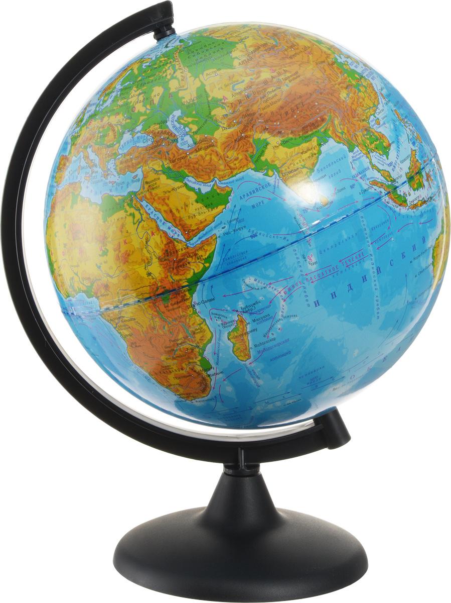 Глобусный мир Глобус с физической картой мира диаметр 25 см 1016010160Глобус с физической картой Глобусный мир, изготовленный из высококачественного прочного пластика, показывает страны мира, сухопутные и морские границы того или иного государства, расположение городов и населенных пунктов. На нем отображены картографические линии: параллели и меридианы, а также градусы и условные обозначения. На глобусе имеются направления и названия подводных течений и ветров, шкала глубин и высот в метрах, отметки высот над уровнем моря, шельфовые ледники, зимняя граница плавучих льдов. С помощью данного глобуса можно получить правильное представление о форме, размерах, расположении материков, океанов, островов, морей и рек. Названия стран на глобусе приведены на русском языке. Помимо этого глобус обладает приятной цветовой гаммой. Изделие расположено на деревянной подставке, что придает этой модели подарочный вид. Настольный глобус с физической картой Глобусный мир станет оригинальным украшением рабочего стола или вашего...