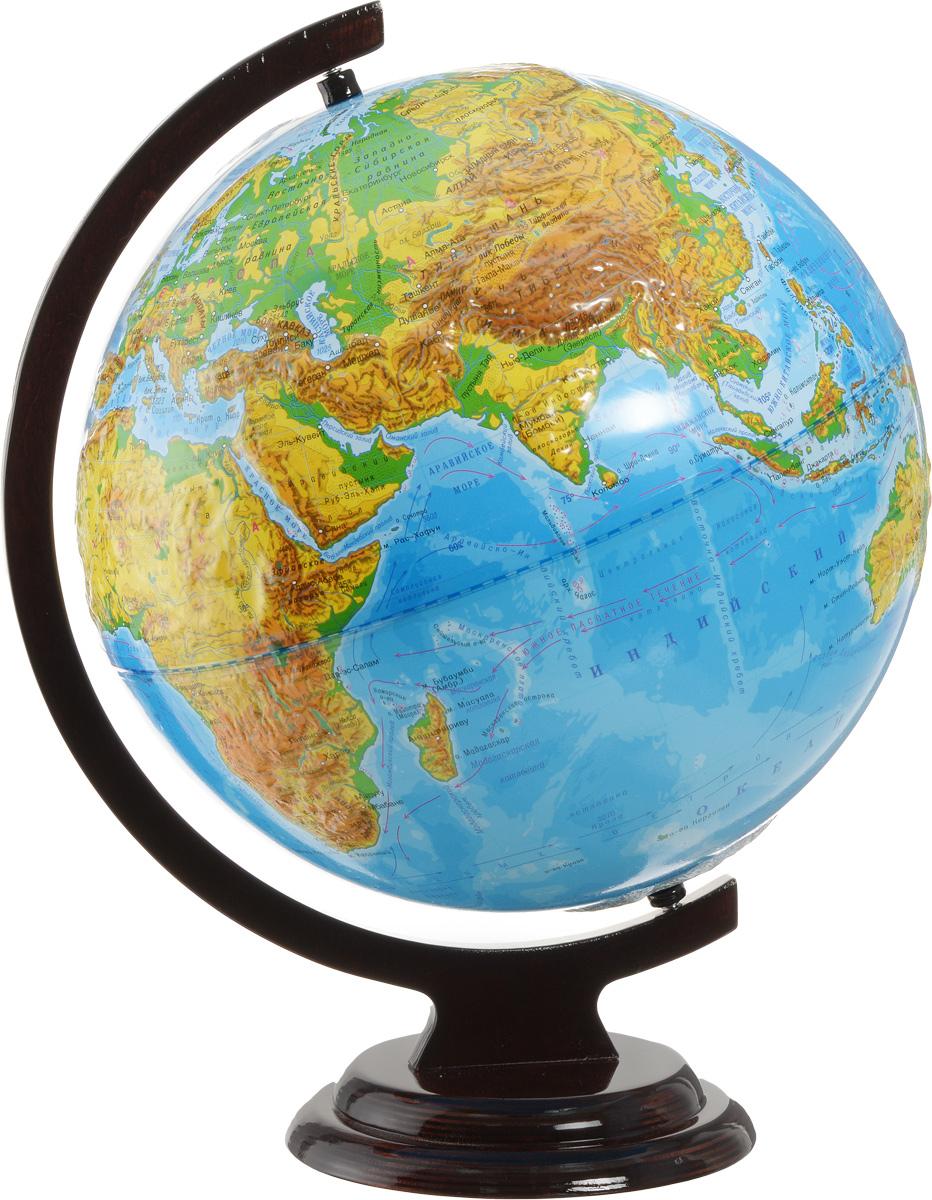 Глобусный мир Глобус с физической картой мира рельефный диаметр 32 см 1020310203Глобус рельефный с физической картой мира Глобусный мир, изготовленный из высококачественного и прочного пластика, показывает страны мира, сухопутные и морские границы того или иного государства, расположение городов и населенных пунктов. На глобусе имеются направления, названия подводных течений и ветров. А также имеется шкала глубин и высот в метрах. С помощью этого глобуса можно получить правильное представление о форме, размерах, расположении материков, океанов, островов, морей и рек. Модель имеет рельефную выпуклую поверхность, что, в свою очередь, делает глобус особенно интересным для детей младшего школьного возраста. Названия стран на глобусе приведены на русском языке. Помимо этого глобус обладает приятной цветовой гаммой. Изделие расположено на деревянной подставке. Настольный глобус с физической картой Глобусный мир станет оригинальным украшением рабочего стола или вашего кабинета. Это изысканная вещь для стильного интерьера, которая станет прекрасным подарком...