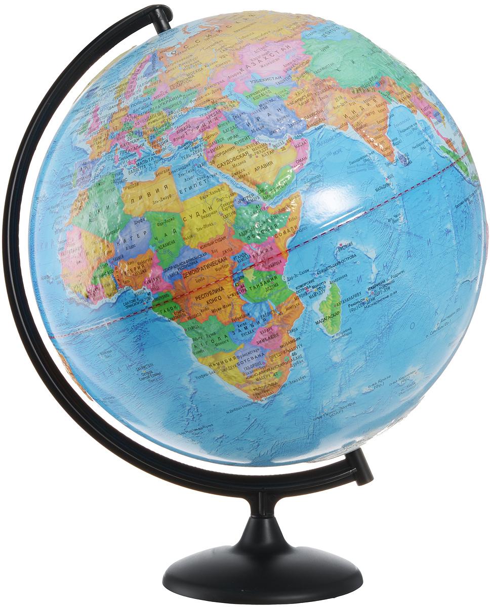Глобусный мир Глобус с политической картой мира рельефный диаметр 42 см10347Глобус с политической картой мира Глобусный мир, изготовленный из высококачественного и прочного пластика, показывает страны мира, границы того или иного государства, расположение столиц, городов и населенных пунктов. Изделие расположено на пластиковой подставке. На нем отображены картографические линии: параллели и меридианы, а также градусы и условные обозначения. На глобусе нанесен рельеф, который отчетливо показывает рельеф местности и горные массивы. Все страны мира раскрашены в разные цвета. Глобус с политической картой мира станет незаменимым атрибутом обучения не только школьника, но и студента. Названия стран на глобусе приведены на русском языке. Настольный глобус Глобусный мир станет оригинальным украшением рабочего стола или вашего кабинета. Это изысканная вещь для стильного интерьера, которая станет прекрасным подарком для современного преуспевающего человека, следующего последним тенденциям моды и стремящегося к элегантности и комфорту в каждой детали. ...