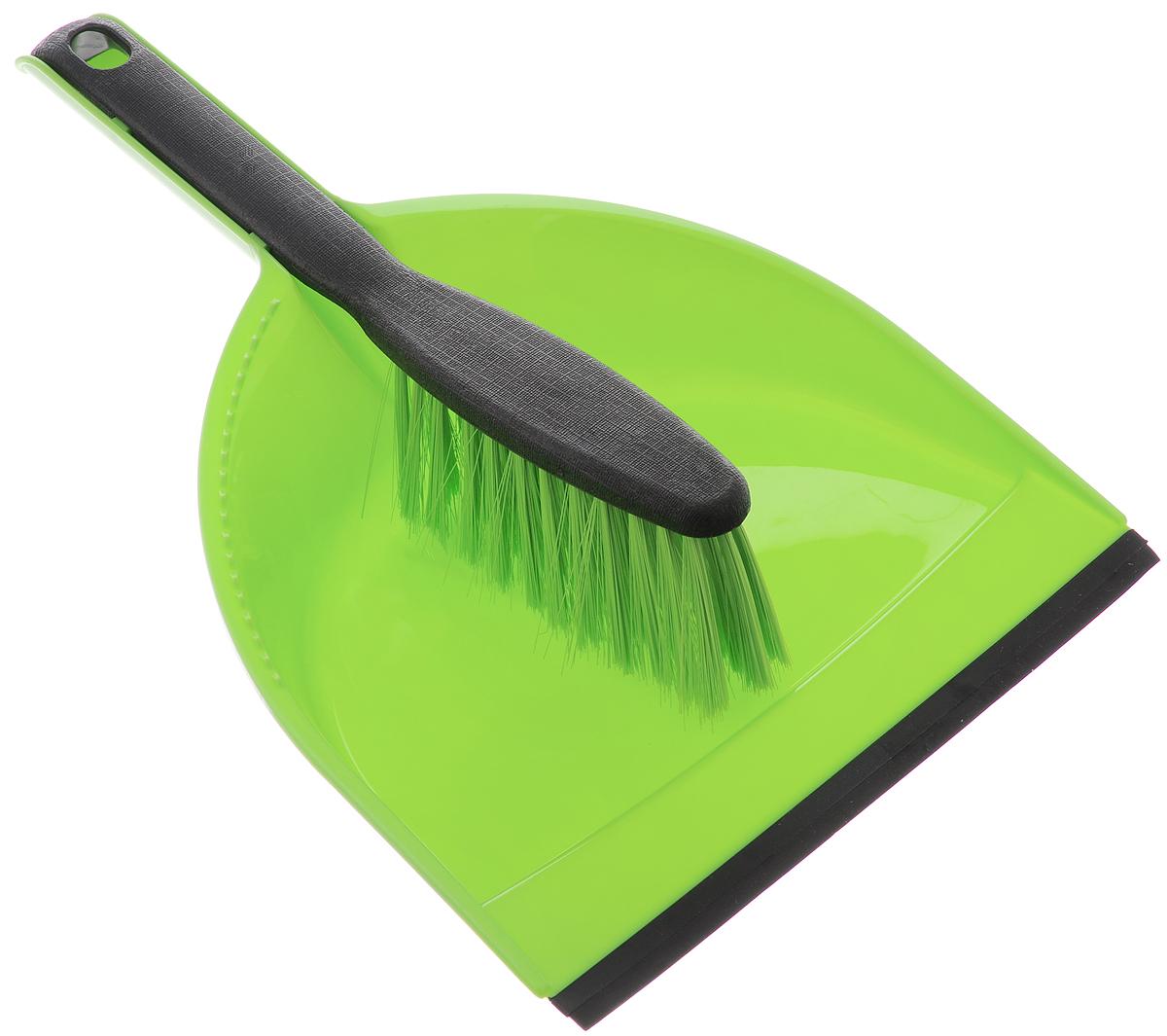 Щетка-сметка Centi, с совком, цвет: салатовый, черный. 62046204_салатовый, черныйЩетка-сметка Centi станет незаменимым помощником в деле удаления пыли и мусора с различных поверхностей. Эластичный ворс на щетке, изготовленный из полимера, не оставит от грязи и следа. В комплекте вместительный совок углубленной формы, выполненный из прочного пластика. Удобная форма совка с бордюром, который удерживает собранный мусор, позволит эффективно и быстро совершить уборку в любом помещении. Изделие оснащено резинкой. Ручка совка позволяет прикреплять его к рукоятке щетки. На рукояти изделий имеется специальное отверстие для подвешивания. Длина щетки-сметки: 28 см. Длина ворса: 5 см. Размер рабочей поверхности совка: 21 х 16 см. Размер совка (с учетом ручки): 32 х 21 х 7 см.
