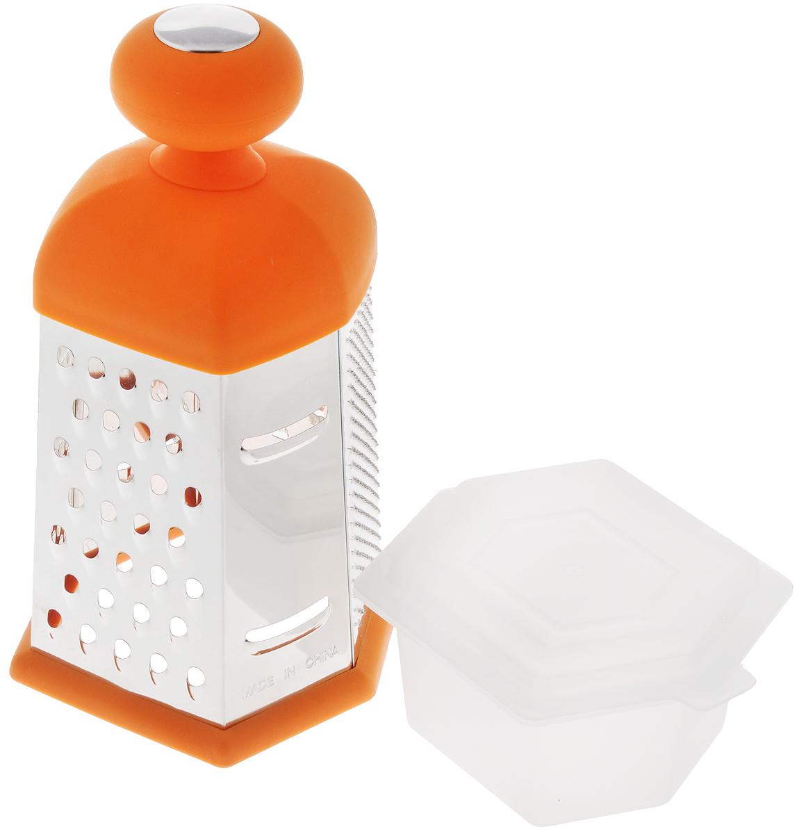 Терка шестигранная Mayer & Boch, с контейнером, цвет: оранжевый, высота: 24 см21320Терка Mayer & Boch изготовлена из высококачественного металла с оловянным покрытием и зеркальной полировкой. Терка оснащена удобной ручкой, выполненной из АБС-пластика с прорезиненным покрытием. На одной терке представлены шесть видов терок - крупная, мелкая, терка для овощных пюре, фигурная, шинковка и шинковка фигурная. Терка снабжена специальным контейнером, куда попадают уже натертые продукты. Для удобного хранения для контейнера предусмотрена крышка. Терку можно использовать и без контейнера, специальная резиновая накладка на дне обеспечивает устойчивость и предотвращает скольжение. Каждая хозяйка оценит все преимущества этой терки. Благодаря этому можно удовлетворить любые потребности по нарезке различных продуктов. Наслаждайтесь приготовлением пищи с многофункциональной теркой Mayer & Boch. Размер терки: 12,5 х 11,5 х 24 см. Размер контейнера (с крышкой): 13 х 11 х 7 см.