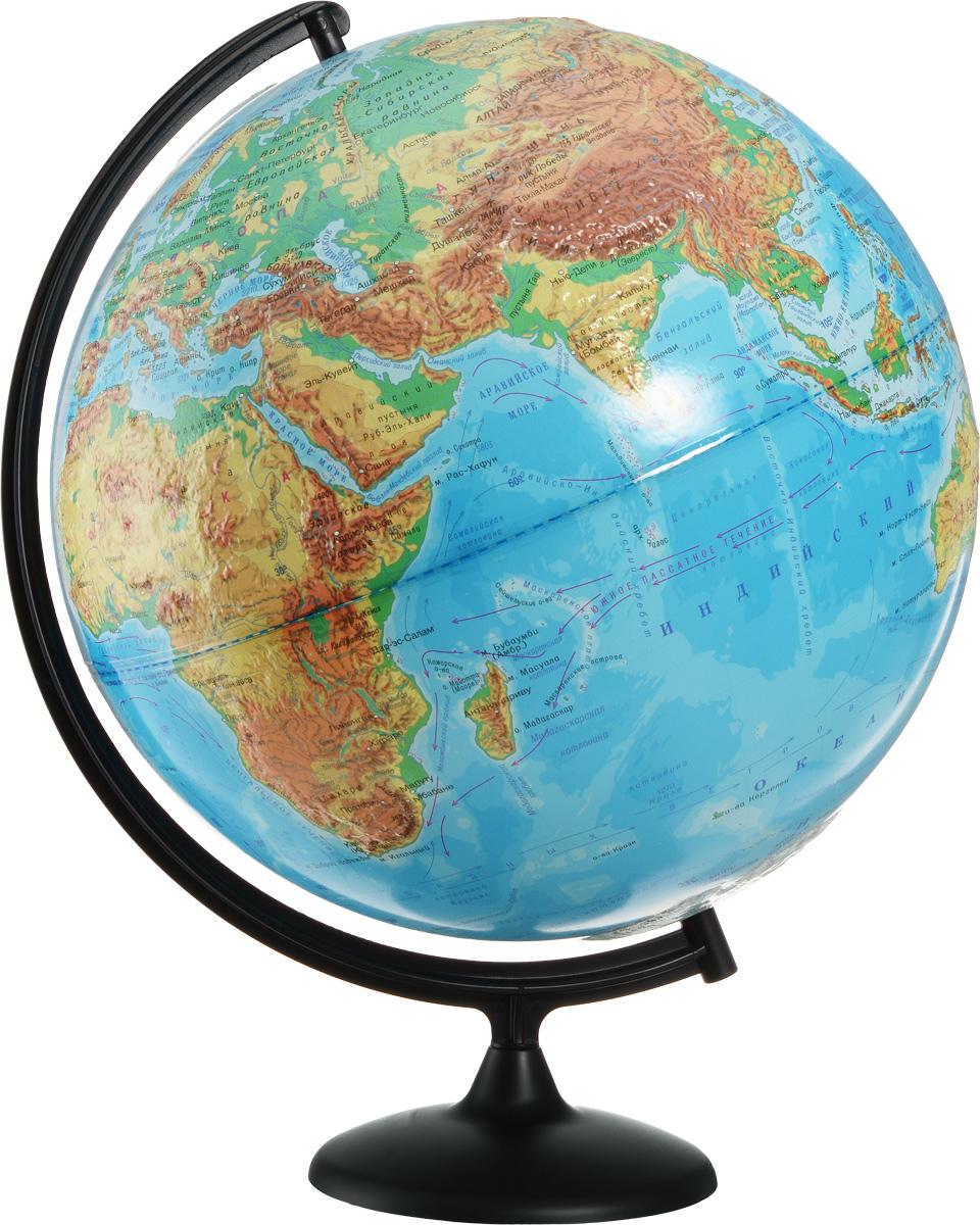 Глобусный мир Глобус с физической картой мира рельефный диаметр 42 см10346Глобус с физической картой мира Глобусный мир, изготовленный из высококачественного прочного пластика, показывает страны мира, сухопутные и морские границы того или иного государства, расположение городов и населенных пунктов. На нем отображены картографические линии: параллели и меридианы, а также градусы и условные обозначения. На глобусе имеются направления, названия подводных течений и ветров, шкала глубин и высот в метрах, отметки высот над уровнем моря. С помощью данного глобуса можно получить правильное представление о форме, размерах, расположении материков, океанов, островов, морей и рек. Модель имеет рельефную выпуклую поверхность, что, в свою очередь, делает глобус особенно интересным для детей младшего школьного и дошкольного возрастов. Названия стран на глобусе приведены на русском языке. Помимо этого глобус обладает приятной цветовой гаммой. Изделие расположено на подставке и легко вращается вокруг своей оси. Настольный глобус с...