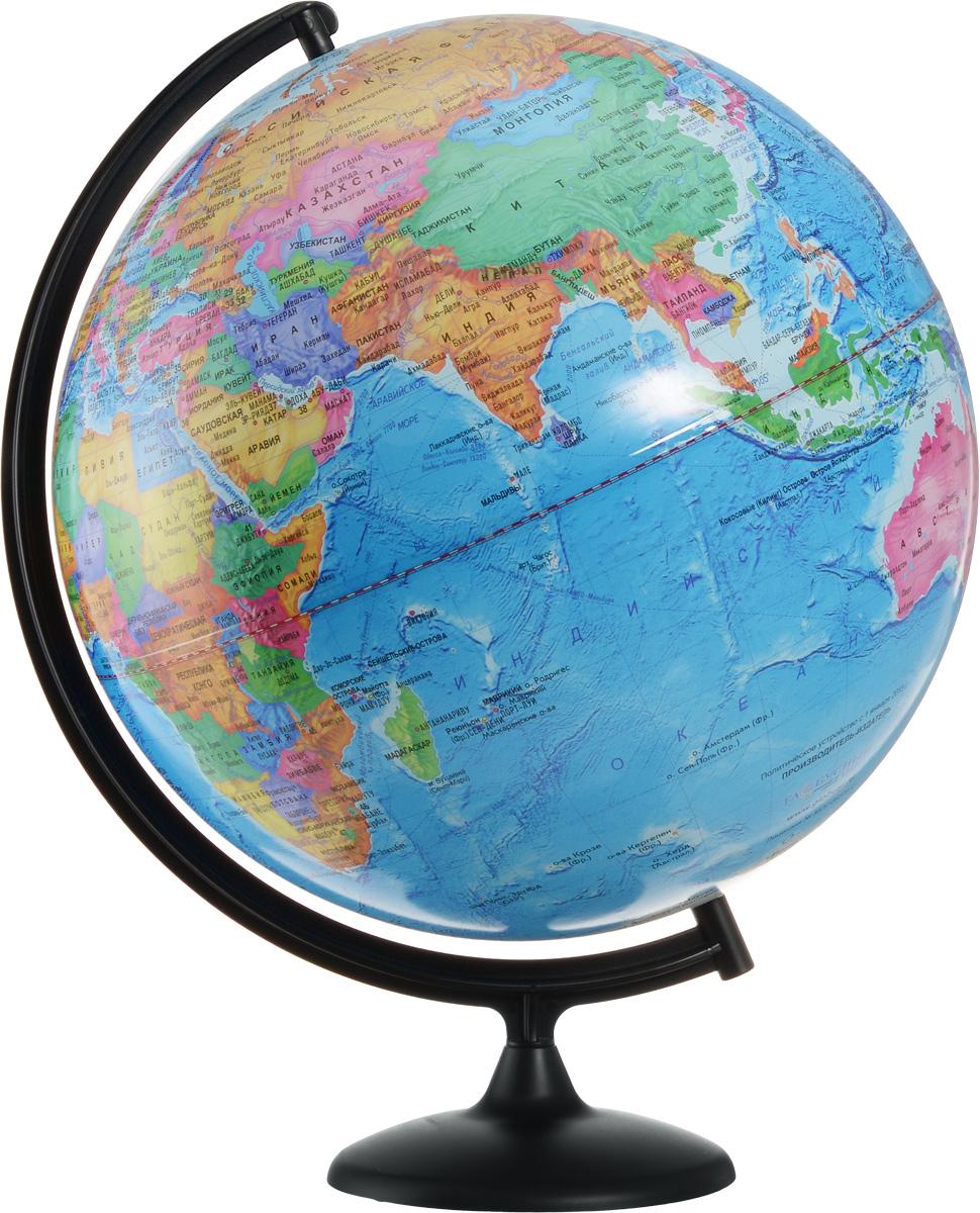 Глобусный мир Глобус с политической картой мира диаметр 42 см10323Глобус с политической картой мира Глобусный мир изготовлен из высококачественного и прочного пластика. Глобус показывает страны мира, границы того или иного государства, расположение столиц государств, городов и населенных пунктов. Изделие расположено на черной пластиковой подставке. На глобусе отображены картографические линии: параллели и меридианы, а также градусы и условные обозначения. Все страны мира раскрашены в разные цвета. Названия стран на глобусе приведены на русском языке. Глобус с политической картой мира станет незаменимым атрибутом обучения не только школьника, но и студента. Настольный глобус Глобусный мир станет оригинальным украшением рабочего стола или вашего кабинета. Это изысканная вещь для стильного интерьера, которая станет прекрасным подарком для современного преуспевающего человека, следующего последним тенденциям моды и стремящегося к элегантности и комфорту в каждой детали. Масштаб: 1:30 000 000.