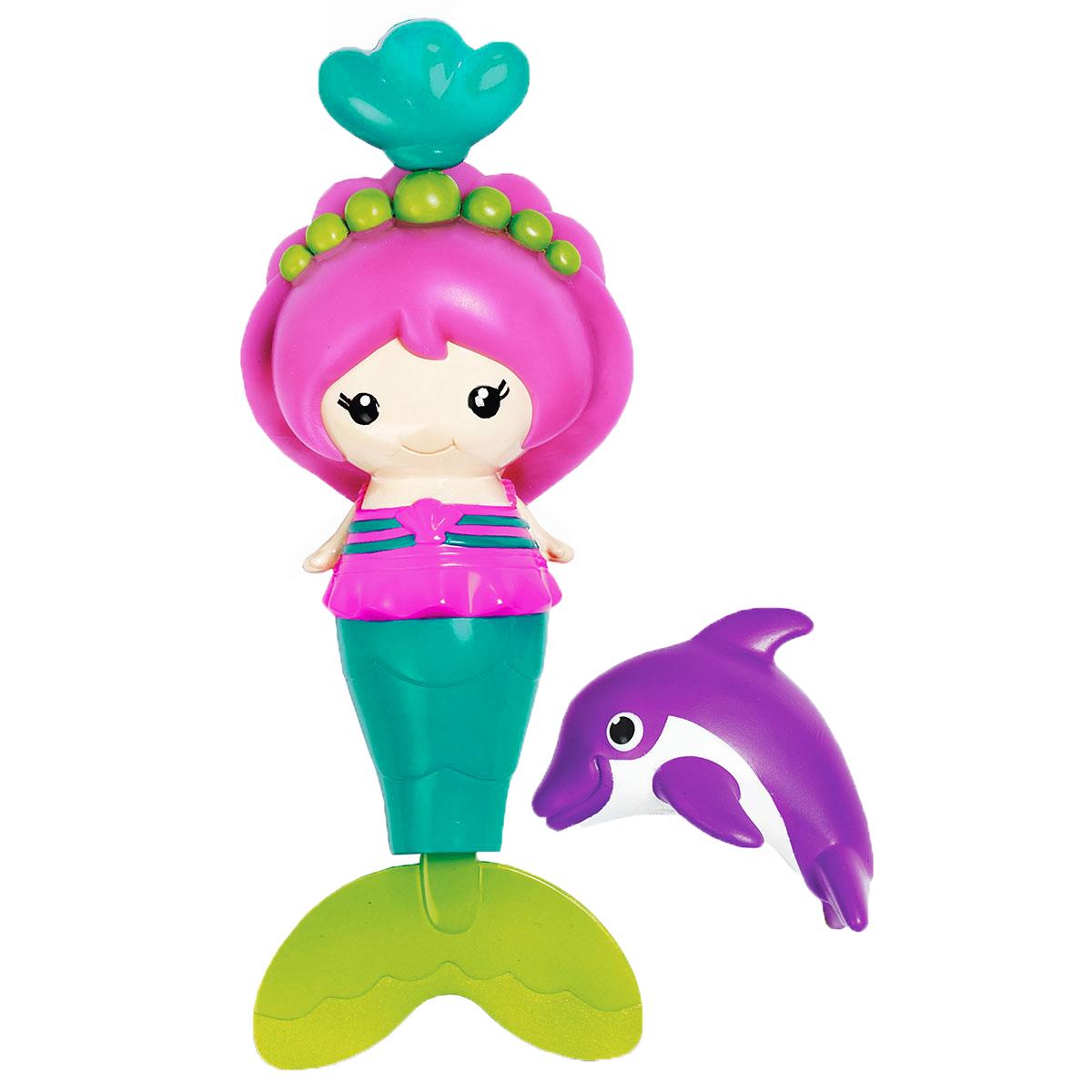 Munchkin Игрушка для ванны Русалочка с дельфином11420_дельфинИгрушка для ванны Munchkin Русалочка с дельфином привлечет внимание вашей малышки и превратит купание в веселую игру. Ребенка ждет настоящее подводное путешествие с этой красочной русалкой, которая действительно умеет плавать. Стоит только потянуть за кулон на короне, как ее хвост начнет двигаться, и она будет плавать по всей ванной, до тех пор, пока кулон не вернется в исходное положение. В комплект с русалочкой входит игрушка- брызгалка в виде ее маленького друга - дельфинчика. Если в игрушку сначала набрать воды, а затем нажать на нее, то из нее брызнет тонкая струйка воды, что, несомненно, позабавит малышку. Игрушка для ванны Munchkin Русалочка с дельфином способствует развитию воображения, цветового восприятия, тактильных ощущений и мелкой моторики рук.