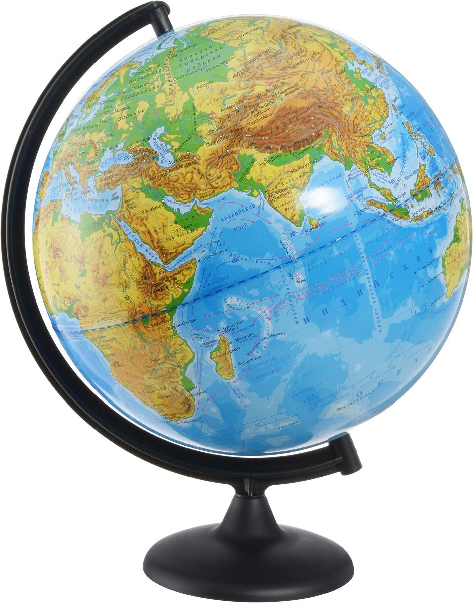 Глобусный мир Глобус с физической картой мира диаметр 32 см 1001310013Глобус с физической картой мира Глобус мира, изготовленный из высококачественного и прочного пластика, показывает страны мира, сухопутные и морские границы того или иного государства, расположение городов и населенных пунктов. На глобусе имеются направления, названия подводных течений и ветров. А также имеется шкала глубин и высот в метрах, отметки глубин, отметки высот над уровнем моря. С помощью данного глобуса можно получить правильное представление о форме, размерах, расположении материков, океанов, островов, морей и рек. Названия стран на глобусе приведены на русском языке. Помимо этого глобус обладает приятной цветовой гаммой. Изделие расположено на пластиковой подставке. Настольный глобус с физической картой Глобусный мир станет оригинальным украшением рабочего стола или вашего кабинета. Это изысканная вещь для стильного интерьера, которая станет прекрасным подарком для современного преуспевающего человека, следующего последним тенденциям моды и стремящегося к...