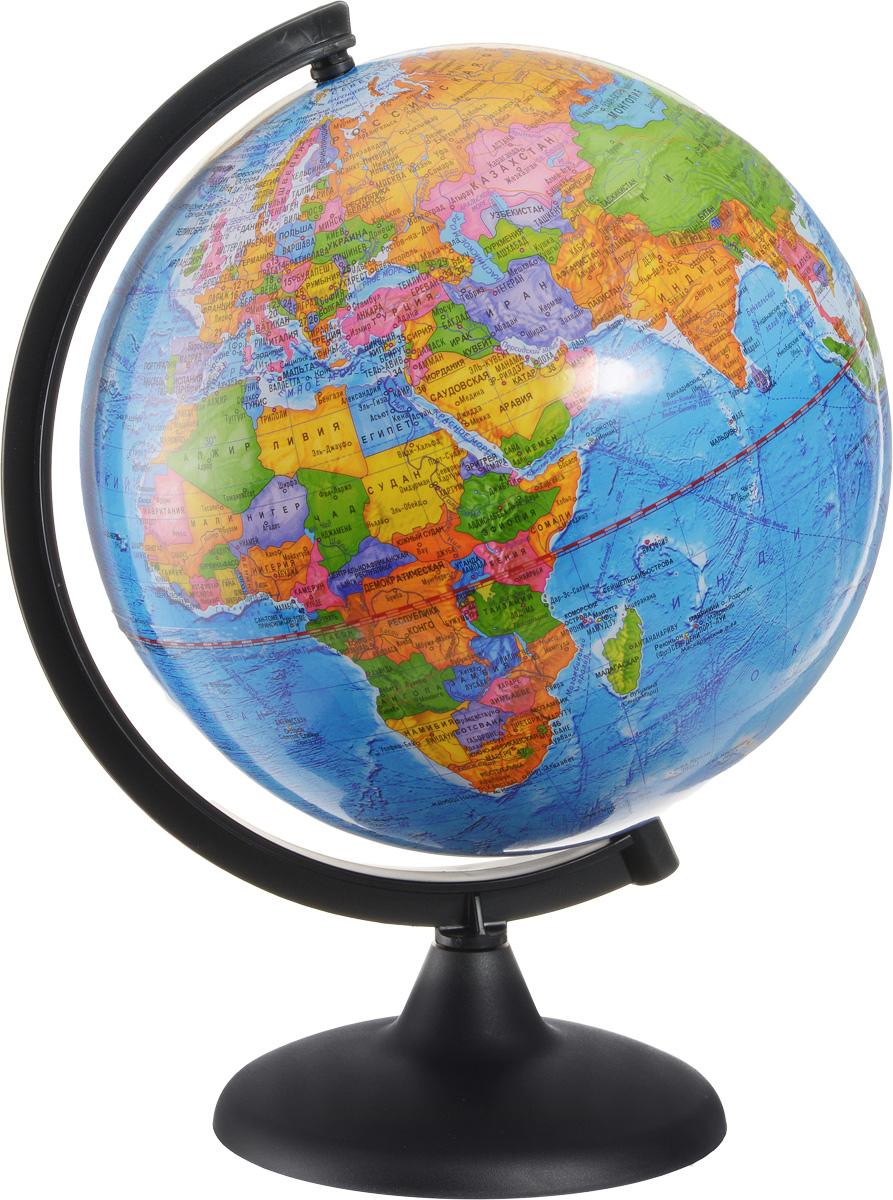 Глобусный мир Глобус с политической картой мира диаметр 25 см10161Глобус с политической картой мира Глобусный мир, изготовленный из высококачественного и прочного пластика, показывает страны мира, железнодорожные и морские пути сообщения, научные станции, расположение столиц государств и населенных пунктов. На нем отображены картографические линии: параллели и меридианы, а также градусы и условные обозначения. Каждая страна обозначена своим цветом. Названия стран на глобусе приведены на русском языке. Изделие расположено на черной пластиковой подставке. Глобус с политической картой мира станет незаменимым атрибутом обучения не только школьника, но и студента Настольный глобус Глобусный мир станет оригинальным украшением рабочего стола или вашего кабинета. Это изысканная вещь для стильного интерьера, которая станет прекрасным подарком для современного преуспевающего человека, следующего последним тенденциям моды и стремящегося к элегантности и комфорту в каждой детали. Масштаб: 1:50 000 000.