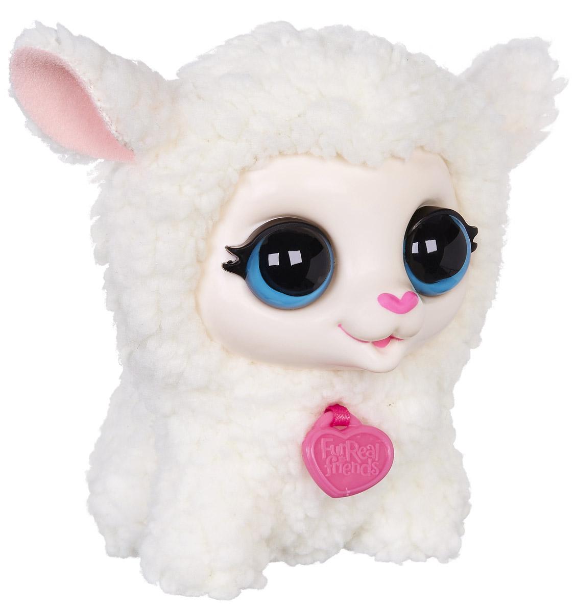 FurReal Friends Интерактивная игрушка ОвечкаB0698_B4987Ваш ребенок мечтает о маленьком ласковом зверьке, но нет возможности исполнить его желание? Мягкая озвученная игрушка FurReal Friends Овечка приведет в восторг вашего малыша. Приятная на ощупь игрушка выполнена в виде милой овечки с черными пластиковыми глазками. При нажатии кнопки на ее спинке овечка поднимает голову и издает забавные звуки. Игрушка выполнена из безопасных и качественных материалов. Мягкая озвученная игрушка FurReal Friends Овечка принесет ребенку много радости и станет верным другом на долгое время. Рекомендуется докупить 2 батарейки напряжением 1,5V типа LR44 (товар комплектуется демонстрационными).