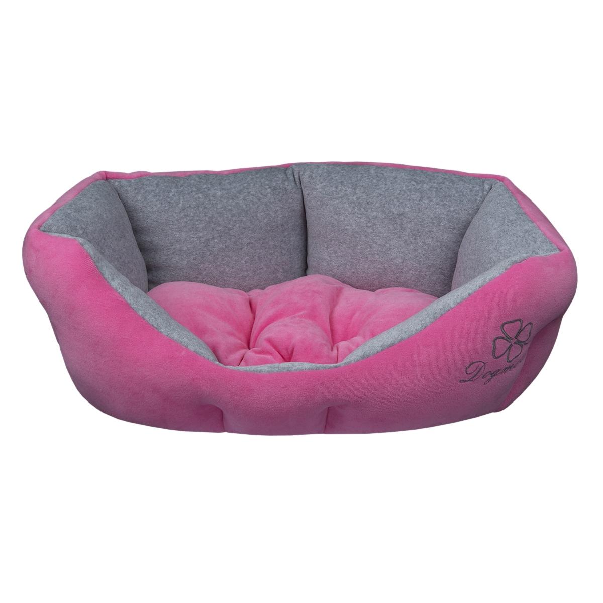 Лежак для животных Dogmoda Ретро, цвет: розовый, серый, 54 х 50 х 23 смDM-160111Лежак Dogmoda Ретро непременно станет любимым местом отдыха вашего домашнего животного. Изделие выполнено из высококачественного полиэстера и велюра, а наполнитель - из холлофайбера. Такой материал не теряет своей формы долгое время. Внутри имеется мягкая съемная подстилка. На таком лежаке вашему любимцу будет мягко и тепло. Он подарит вашему питомцу ощущение уюта и уединенности.