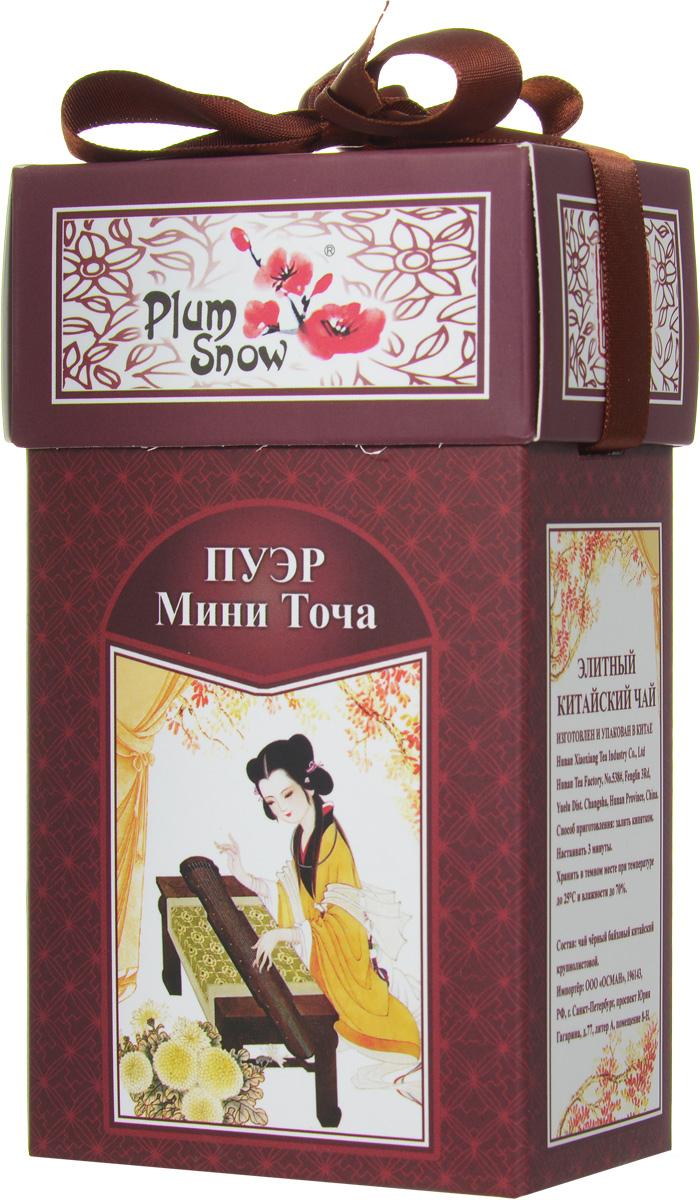 Plum Snow Пуэр мини точа черный листовой чай, 100 гPS111Plum Snow Пуэр мини точа - черный китайский крупнолистовой чай - пуэр, спрессованный в форме гнездышка.
