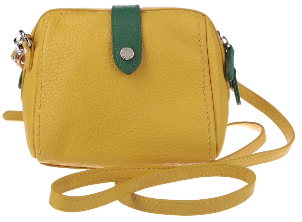 Сумка женская Palio, цвет: желтый, зеленый. 12435AL-W112435AL-W1Яркая женская сумка кросс-боди торговой марки Palio выполнена из натуральной кожи с зернистой фактурой. Модель застегивается на пластиковую застежку-молнию с двумя бегунками и дополнительно хлястиком на кнопке-магните. Сумка содержит нашивной карман и врезной карман на пластиковой застежке-молнии. Изделие оснащено съемным плечевым ремнем, регулируемой длины. Прилагается фирменный текстильный чехол для хранения. Оригинальный аксессуар позволит вам завершить образ и быть неотразимой.