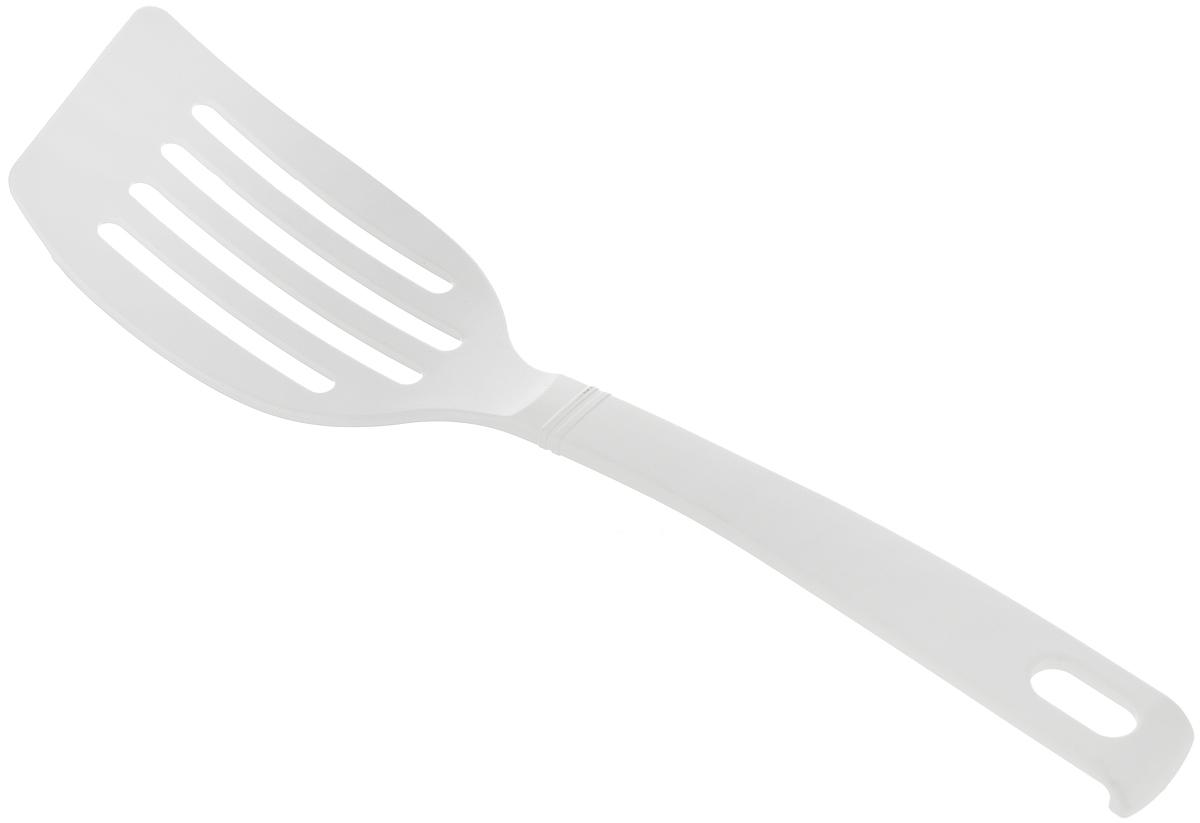 Лопатка с прорезями Fackelmann Blanca, длина 26,5 см24290Лопатка с прорезями Fackelmann Blanca выполнена из высококачественного нейлона. Эргономичная рукоятка обеспечивает надежный хват. Такой лопаткой удобно перемешивать, переворачивать различные блюда при жарке (стейки, отбивные или рыбу), а также раскладывать блюда на тарелки. На конце ручки имеется небольшое отверстие, за которое лопатку можно подвесить в любом удобном для вас месте. Подходит для посуды с антипригарным покрытием. Практичная и удобная лопатка Fackelmann Blanca займет достойное место среди аксессуаров на вашей кухне. Общая длина лопатки: 26,5 см. Размер рабочей поверхности: 10,5 х 6 см.