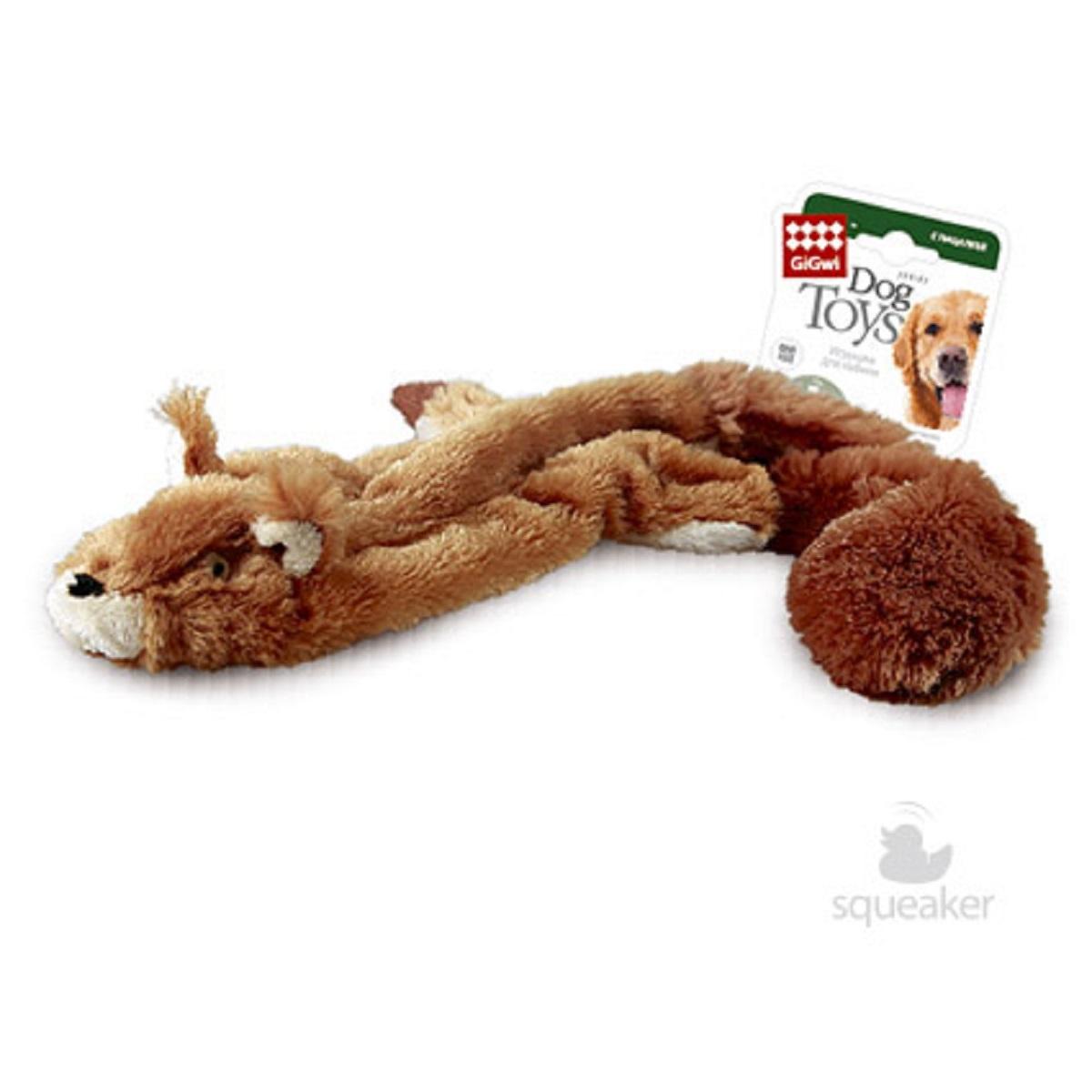 Игрушка для собак GiGwi Шкурка белки с пищалкой, 61 см75012GiGwi игрушка для собак Шкурка белки с пищалкой 61 см Игрушка для собак. Шкурка с двумя пищалками, удобная для тренинга, без наполнителей. Подходит для больших и средних собак.