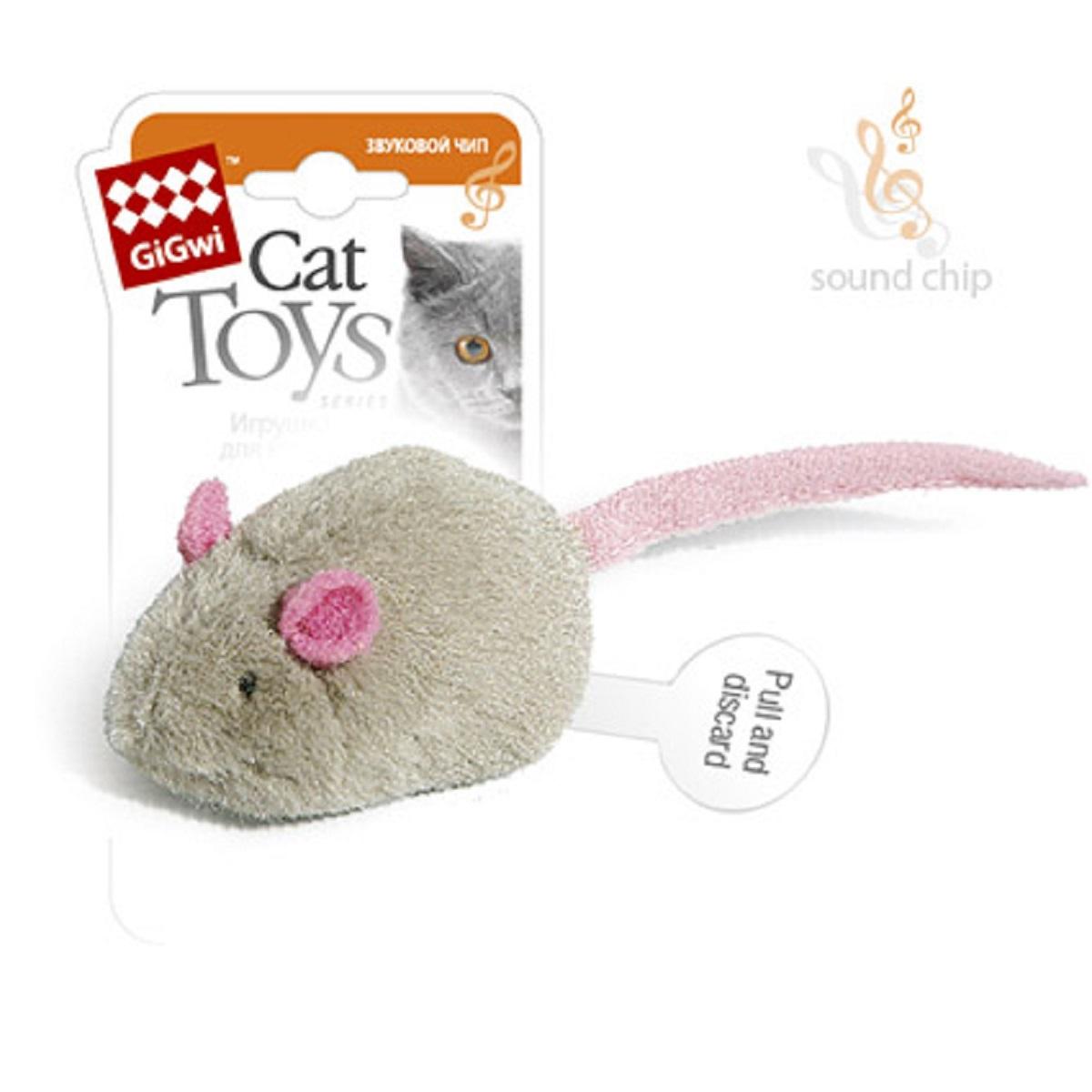 Игрушка для кошек GiGwi Мышка с электронным чипом75040GiGwi игрушка для кошек Мышка с электронным чипом Игрушка для кошек. Игрушка для кошки с музыкальным чипом, срабатывающим при прикосновении, три звуковых эффекта.