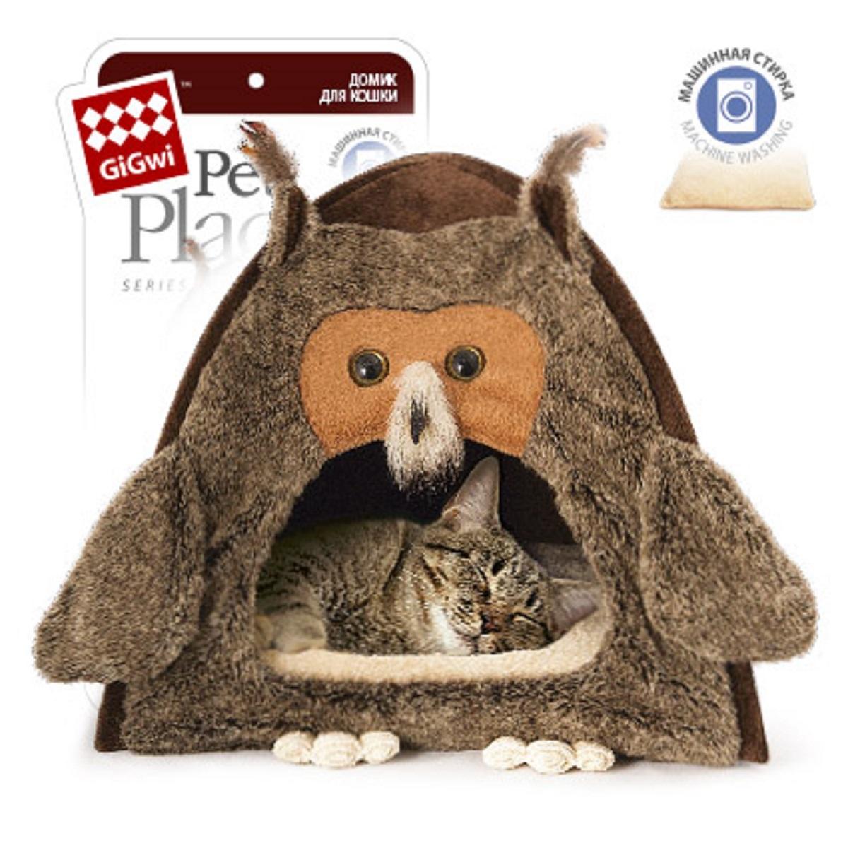 Домик для кошек и собак GiGwi Сова, 40 см х 45 см75061GiGwi Домик для кошек и собак Сова Складной и уютный домик для кошки. Забавный дизайн. Высокое качество материалов. Машинная стирка.