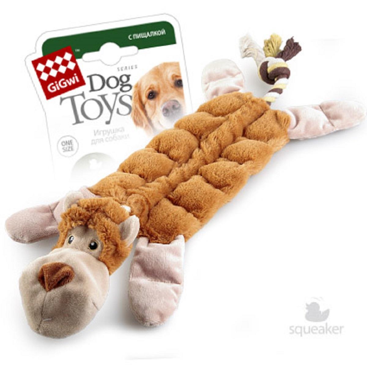 Игрушка для собак GiGwi Обезьяна с 19-ю пищалками, 34 см75088GiGwi игрушка для собак Обезьяна с 19-ю пищалками 34 см Игрушка для собак. Игрушка для собак с канатом и 19-ю пищалками. Для средних и больших собак.