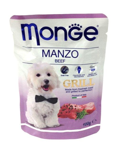 Паучи для собак Monge Dog Grill Pouch говядина 100 г70013154Monge Dog Grill Pouch паучи для собак говядина 100 г Полноценное питание для собак. Паучи с говядиной.Гарантированный анализ: сырой белок 8,99%, сырые масла и жиры 5,98%, сырая клетчатка 0,5%, сырая зола 1,76%. Влажность 78,39%. Пищевые добавки/кг: витамин А 2000 МЕ, витамин D3 200 МЕ, витамин Е (альфа-токоферол 91%) 5 мг.Ингредиенты: мясо и мясные субпродукты 40% (из которых говядины мин. 4,2%), витамины, минеральные вещества, МСМ (метилсульфонилметан) 80 мг/кг, глюкозамин 80 мг/кг, хондроитин 40 мг/кг. Технологические добавки: загустители и желеобразующие компоненты.Рекомендации по кормлению: собакам средних пород необходимо 3-4 пауча в день. Продукт подавать комнатной температуры. ВАЖНО, чтобы животное всегда имело доступ к чистой, свежей воде. Открытую упаковку хранить в холодильнике не более 24 часов. Размер собаки Суточная норма,...