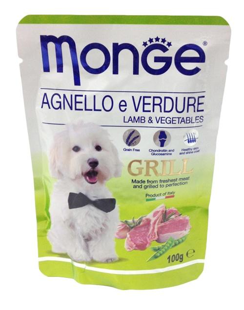 Паучи для собак Monge Dog Grill Pouch ягненок с овощами 100 г70013161Monge Dog Grill Pouch паучи для собак ягненок с овощами 100 г Полноценное питание для собак. Паучи с говядиной.Гарантированный анализ: сырой белок 8%, сырые масла и жиры 7,5%, сырая клетчатка 0,5%, сырая зола 2%. Влажность 79,5%. Пищевые добавки/кг: витамин А 2000 МЕ, витамин D3 200 МЕ, витамин Е (альфа-токоферол 91%) 5 мг.Ингредиенты: мясо и мясные субпродукты 40% (из которых мяса ягненка мин. 4,2%), овощи (горох мин. 4,2%), витамины, минеральные вещества, МСМ (метилсульфонилметан) 80 мг/кг, глюкозамин 80 мг/кг, хондроитин 40 мг/кг. Технологические добавки: загустители и желеобразующие компоненты.Рекомендации по кормлению: собакам средних пород необходимо 3-4 пауча в день. Продукт подавать комнатной температуры. ВАЖНО, чтобы животное всегда имело доступ к чистой, свежей воде. Открытую упаковку хранить в холодильнике не более 24 часов. Размер собаки ...