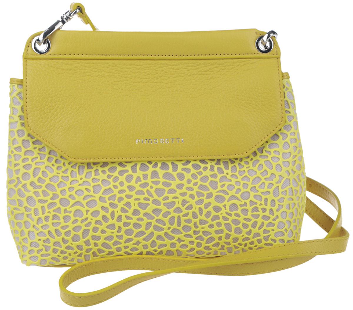 Сумка женская Pimo Betti, цвет: желтый, кремовый. 14593B1-W214593B1-W2Стильная женская сумка Pimo Betti выполнена из натуральной кожи и текстиля с оригинальной фактурой, оформлена символикой бренда. Изделие содержит одно вместительное отделение, закрывающееся клапаном на магниты. Внутри сумки расположены накладной кармашек для мелочей и врезной карман на застежке-молнии. Снаружи, на задней стороне сумки, расположен врезной кармашек на застежке-молнии. Изделие оснащено съемным плечевым ремнем регулируемой длины. Оригинальный аксессуар позволит вам завершить образ и быть неотразимой.