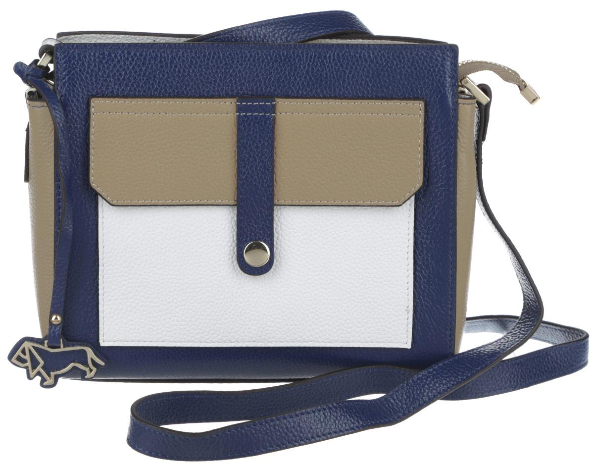 Сумка женская Labbra, цвет: синий, белый, бежевый. L-SD1017L-SD1017Яркая женская сумка кросс-боди торговой марки Labbra выполнена из натуральной кожи с зернистой фактурой и застегивается на металлическую застежку-молнию. Сумка содержит два нашивных открытых кармана для мелочей и телефона, врезной карман на пластиковой застежке-молнии и карман-средник на молнии. Снаружи, на задней стороне сумки, расположен прорезной кармашек на металлической молнии. Лицевая сторона сумки дополнена контрастным нашивным карманом, который закрывается клапаном с хлястиком на кнопке-магните. Изделие оснащено несъемным плечевым ремнем, длина которого регулируется металлической пряжкой. На дне сумки предусмотрены защитные металлические ножки. Сумка декорирована фирменным брелоком в виде собачки. Прилагается фирменный текстильный чехол для хранения. Оригинальный аксессуар позволит вам завершить образ и быть неотразимой.
