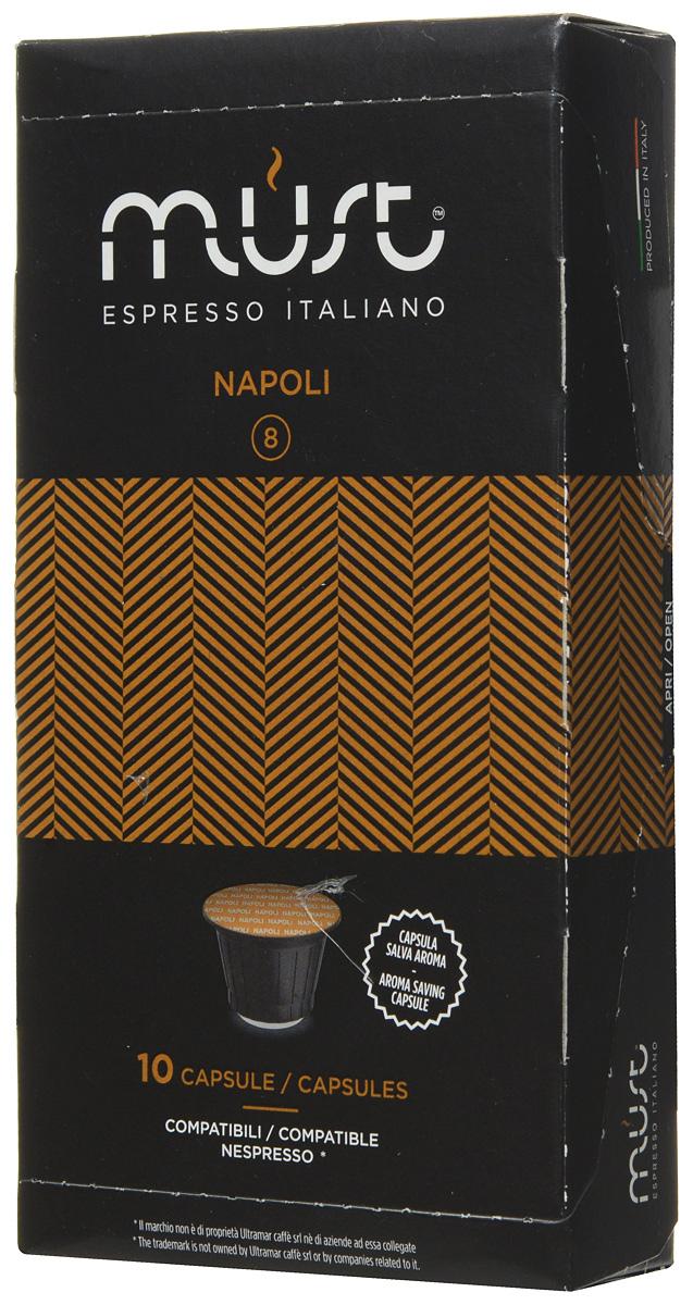 MUST Napoli кофе капсульный, 10 шт8056370761043Капсульный кофе MUST Napoli - это крепкий напиток с неповторимым вкусом, истинный эспрессо! Благодаря лучшим сортам африканской робусты и бразильской арабики получился ароматный насыщенный кофе с плотной и бархатистой пенкой.