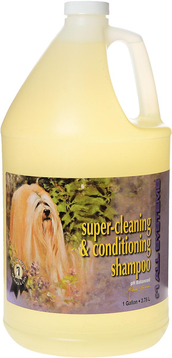 Шампунь для собак и кошек 1 All Systems Super-cleaning & Conditioning, суперочищающий, 3,78 л103Шампунь 1 All Systems Super-cleaning & Conditioning предназначен для собак и кошек. Шампунь обогащен кондиционерами, которые тщательно очищают шерсть, не изменяя ее структуру. Быстро и полностью смывается, оставляет шерсть искрящейся, без остатков грязи. Уникальная формула предотвращает образование колтунов. Благодаря безопасной и очень мягкой формуле, может использоваться ежедневно. Подходит для чувствительной кожи, щенкам, кормящим сукам и кошкам. Содержит только натуральные, безвредные ингредиенты. Не содержит алкоголь, масло или силиконовые продукты, способные повредить кожу и шерсть. Не изменяет окрас и текстуру. Способ применения. Может быть разведен в 1 или 2 частях воды перед использованием. Хорошо увлажните шерсть и нанесите нужное количество для удаления грязи и жира. Хорошо вмассируйте в шерсть. Ополосните и еще раз нанесите шампунь для полной очистки шерсти, затем нанесите подобранный для вашего питомца кондиционер. Рекомендации для кошек: идеально...