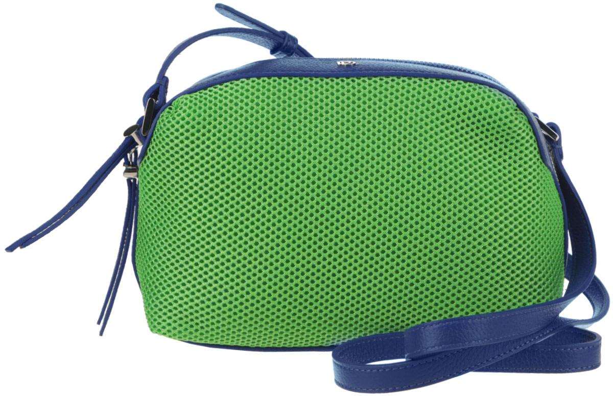 Сумка женская Pimo Betti, цвет: ярко-зеленый, синий. 14759B-W114759B-W1Яркая женская сумка Pimo Betti выполнена из текстиля и натуральной кожи с зернистой фактурой, оформлена металлической фурнитурой с символикой бренда. Изделие содержит одно вместительное отделение, закрывающееся на застежку-молнию. Внутри сумки расположены два накладных кармашка для мелочей и врезной карман на застежке-молнии. Снаружи, на задней стороне сумки, расположен врезной кармашек на застежке-молнии. Изделие оснащено удобным плечевым ремнем регулируемой длины. Оригинальный аксессуар позволит вам завершить образ и быть неотразимой.