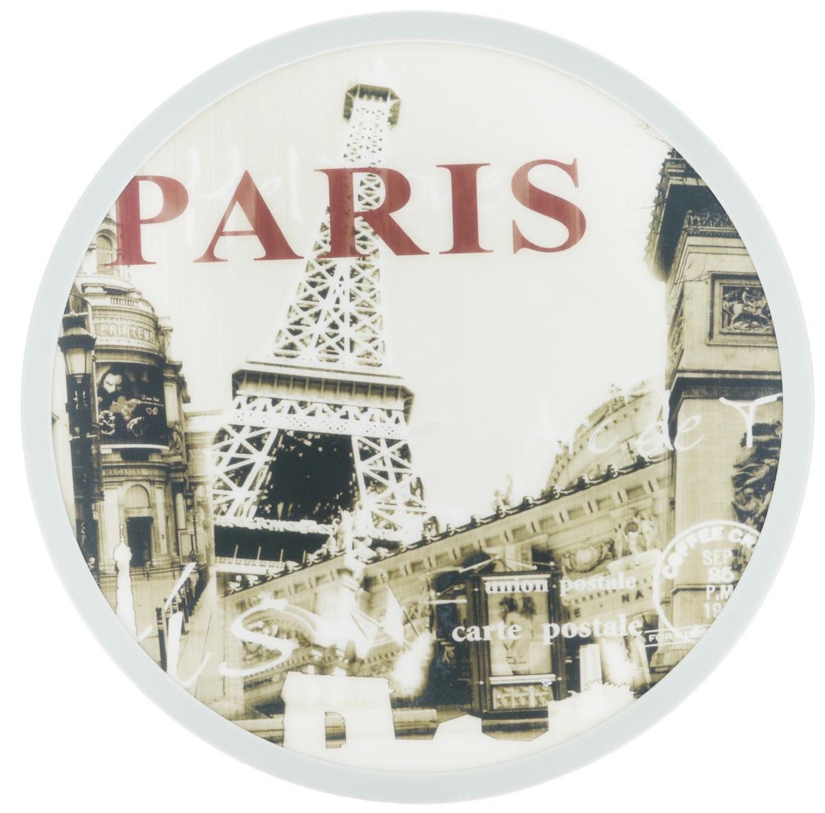 Доска разделочная Mayer & Boch Paris, вращающаяся, диаметр 30 см24775Вращающаяся разделочная доска Mayer & Boch Paris, выполненная из высококачественного пластика и дерева, станет незаменимым аксессуаром на вашей кухне. Доска декорирована красочными рисунками и надписями. Антибактериальное покрытие защищает от плесени, грибков и неприятных запахов. Изделие предназначено для измельчения продуктов. Доска вращается на 360°, что делает ее еще и отличным аксессуаром для сервировки пищи. Такая доска прекрасно впишется в интерьер любой кухни и прослужит вам долгие годы. Диаметр доски: 30 см. Диаметр основания: 18 см. Высота: 4 см.
