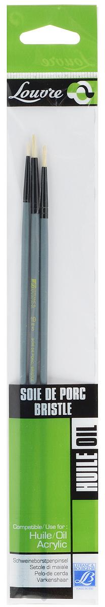 Набор кистей LeFranc Louvre, 3 шт. LF806739LF806739Кисти из набора LeFranc Louvre идеально подойдут для работы с акриловыми красками и прочими искусственными эмульсиями, а так же с темперой, гуашью, акварелью и масляными красками. В набор входят круглые кисти № 2, 6 и 10. Кисти изготовлены из щетины. Конусообразная форма пучка позволяет прорисовывать мелкие детали и выполнять заливку фона. Деревянные ручки оснащены алюминиевыми втулками с двойным обжимом. Длина кистей: № 2 - 27,5 см, № 6 - 28 см, № 10 - 28,5 см. Длина ворса: № 2 - 0,8 см, № 6 - 1,3 см, № 10 - 1,5 см.