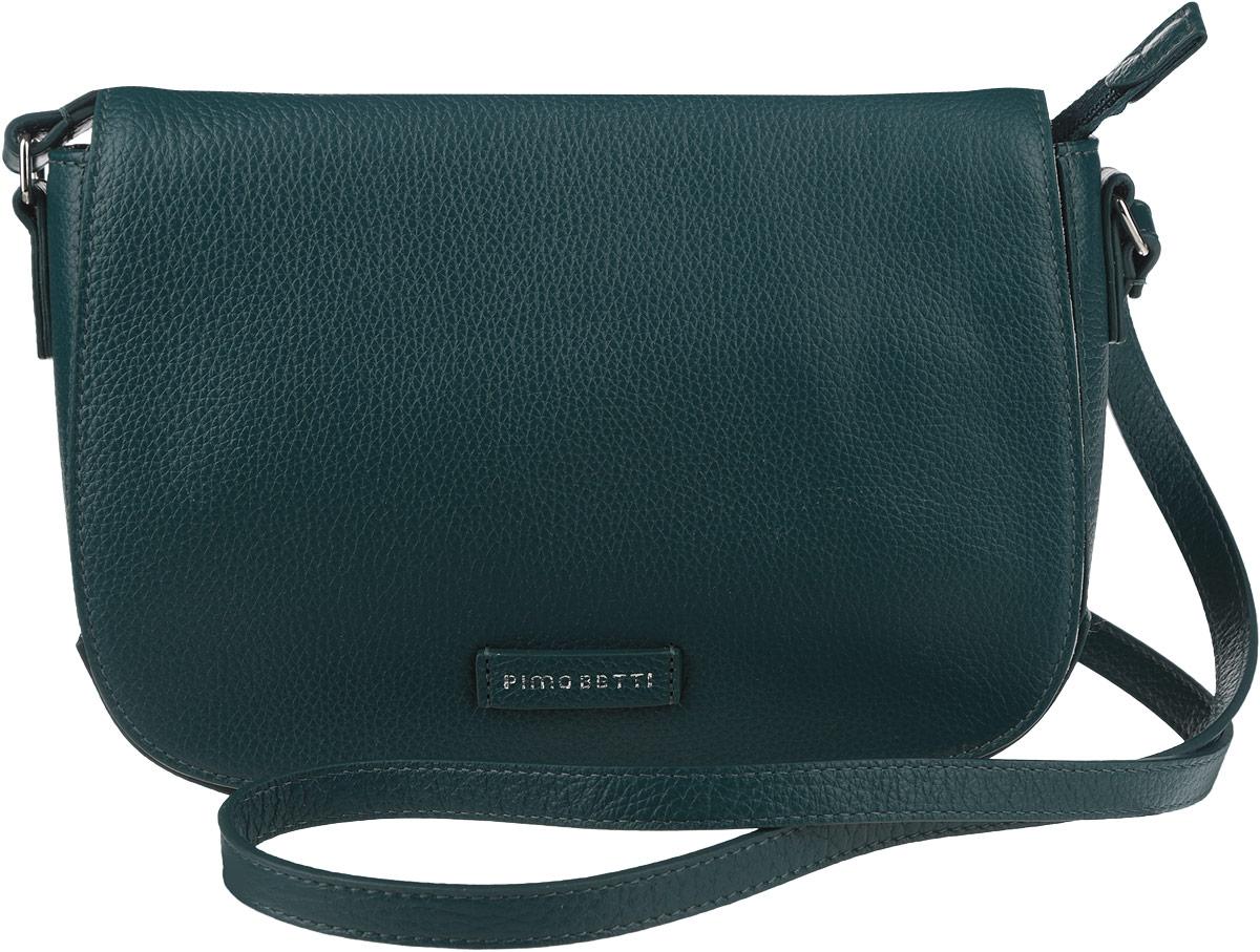 Сумка женская Pimo Betti, цвет: темно-зеленый. 13833B-W113833B-W1Стильная женская сумка Pimo Betti выполнена из натуральной кожи с зернистой фактурой, оформлена символикой бренда. Изделие содержит одно вместительное отделение, закрывающееся на застежку-молнию и дополнительно клапаном с магнитной кнопкой. Внутри сумки расположены два накладных кармашка для мелочей и врезной карман на застежке-молнии. Снаружи, на задней стороне сумки, расположен врезной кармашек на застежке-молнии. Изделие оснащено практичным плечевым ремнем регулируемой длины. Оригинальный аксессуар позволит вам завершить образ и быть неотразимой.
